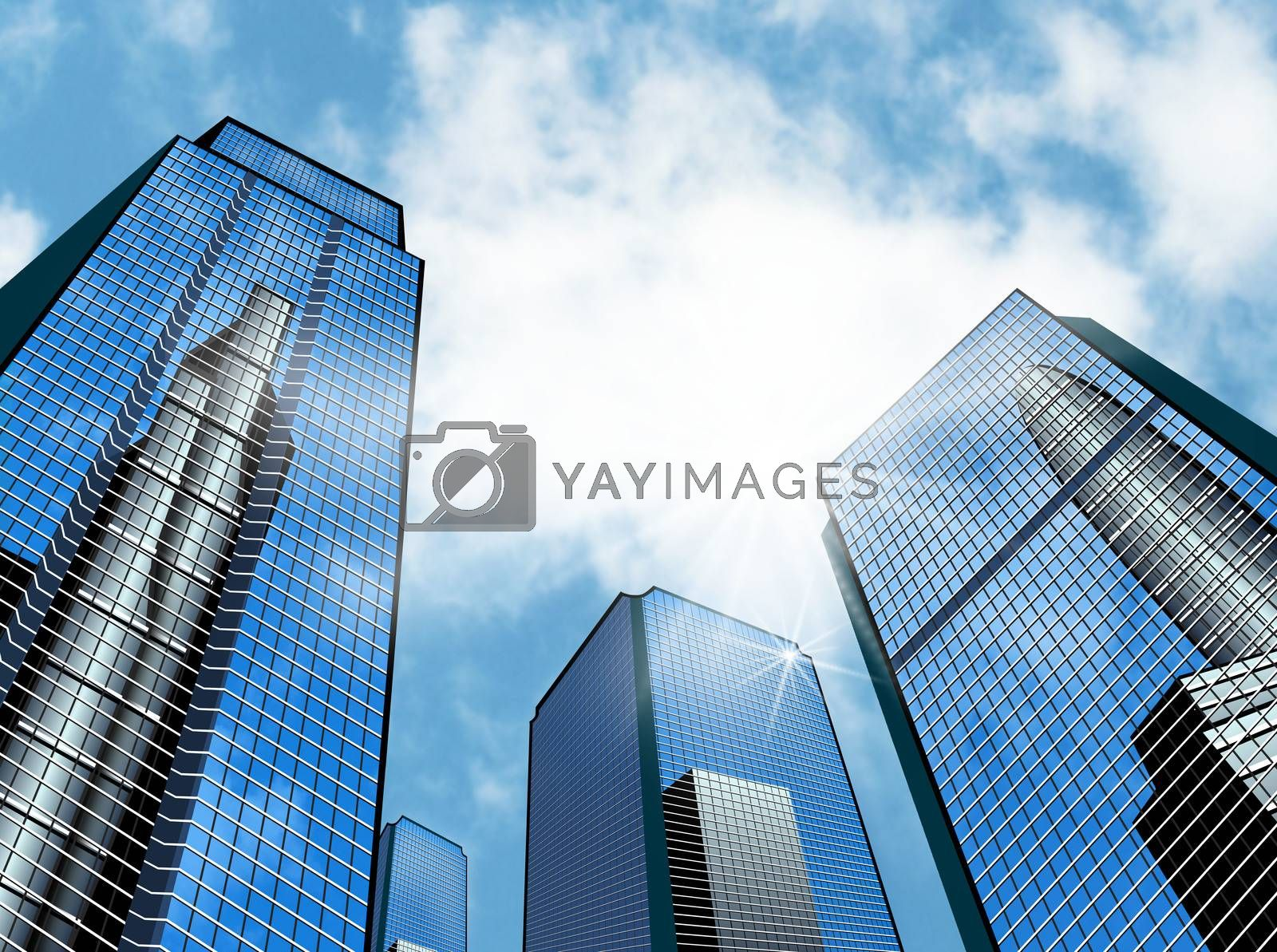 Modern high-rise buildings against the sky. Skyscrapers of the business district.