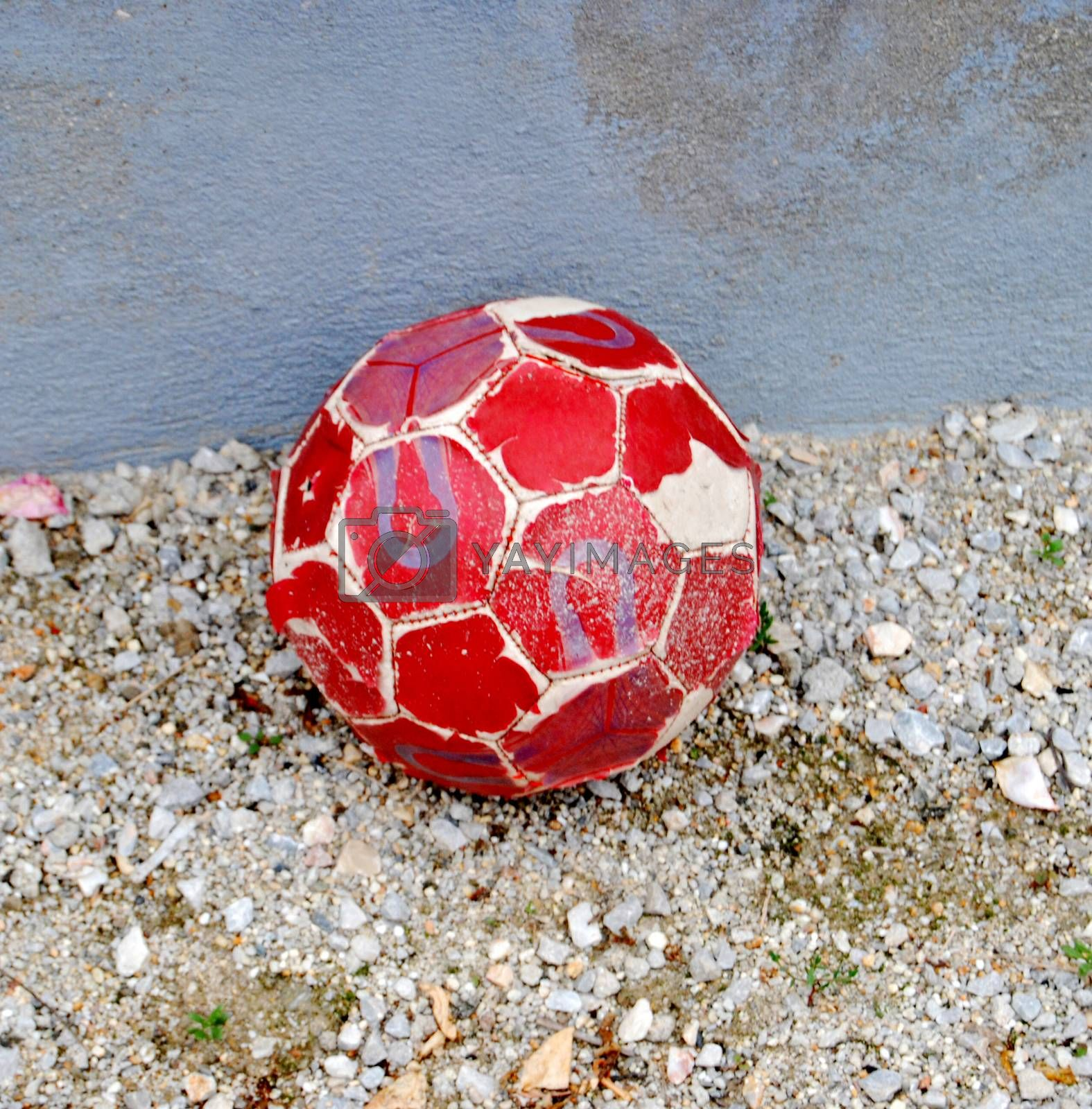 old red soccer ball, image of a
