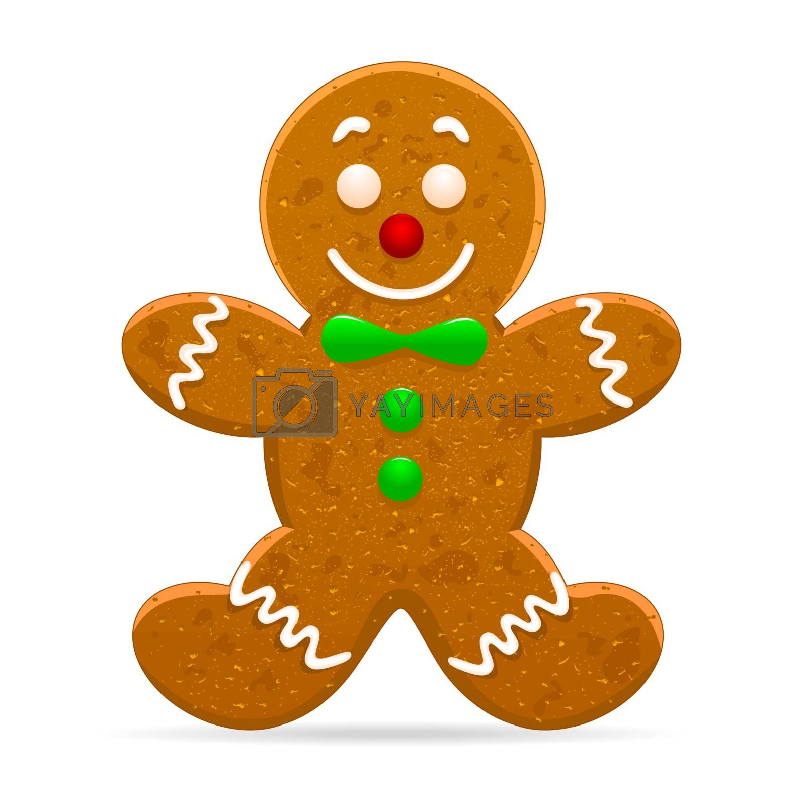 Christmas gingerbread man on a white background.