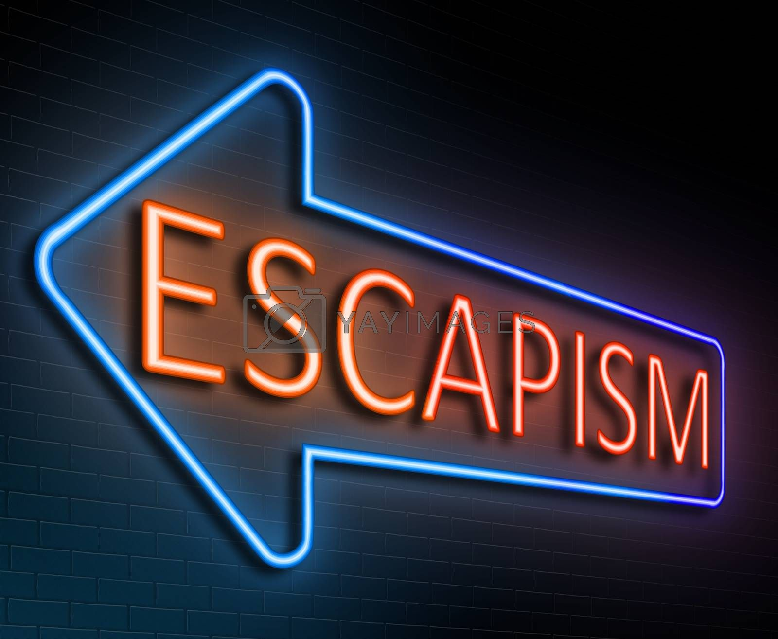 Illustration depicting an illuminated neon sign with an escapism concept.