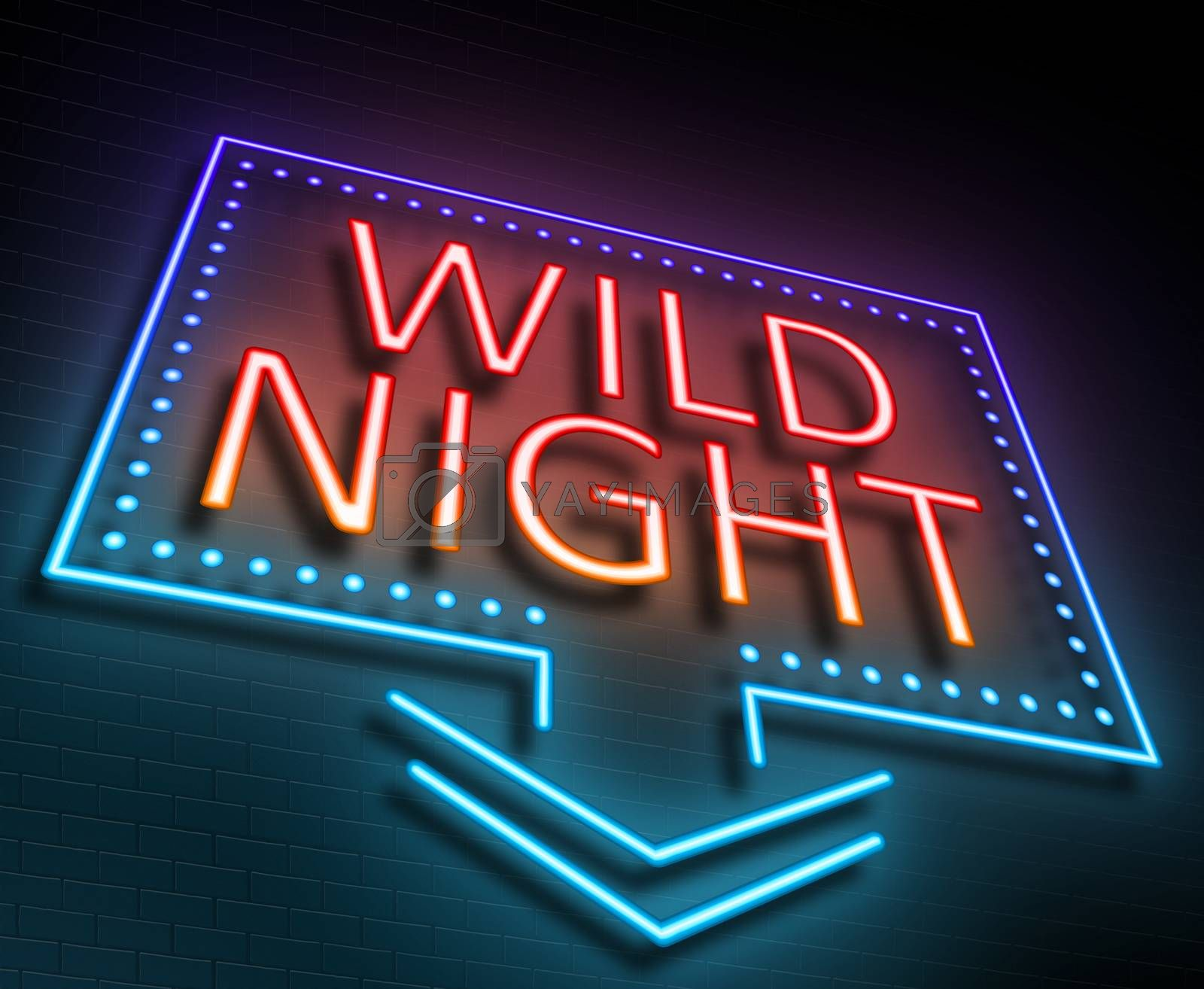 Illustration depicting an illuminated neon sign with a wild night concept.