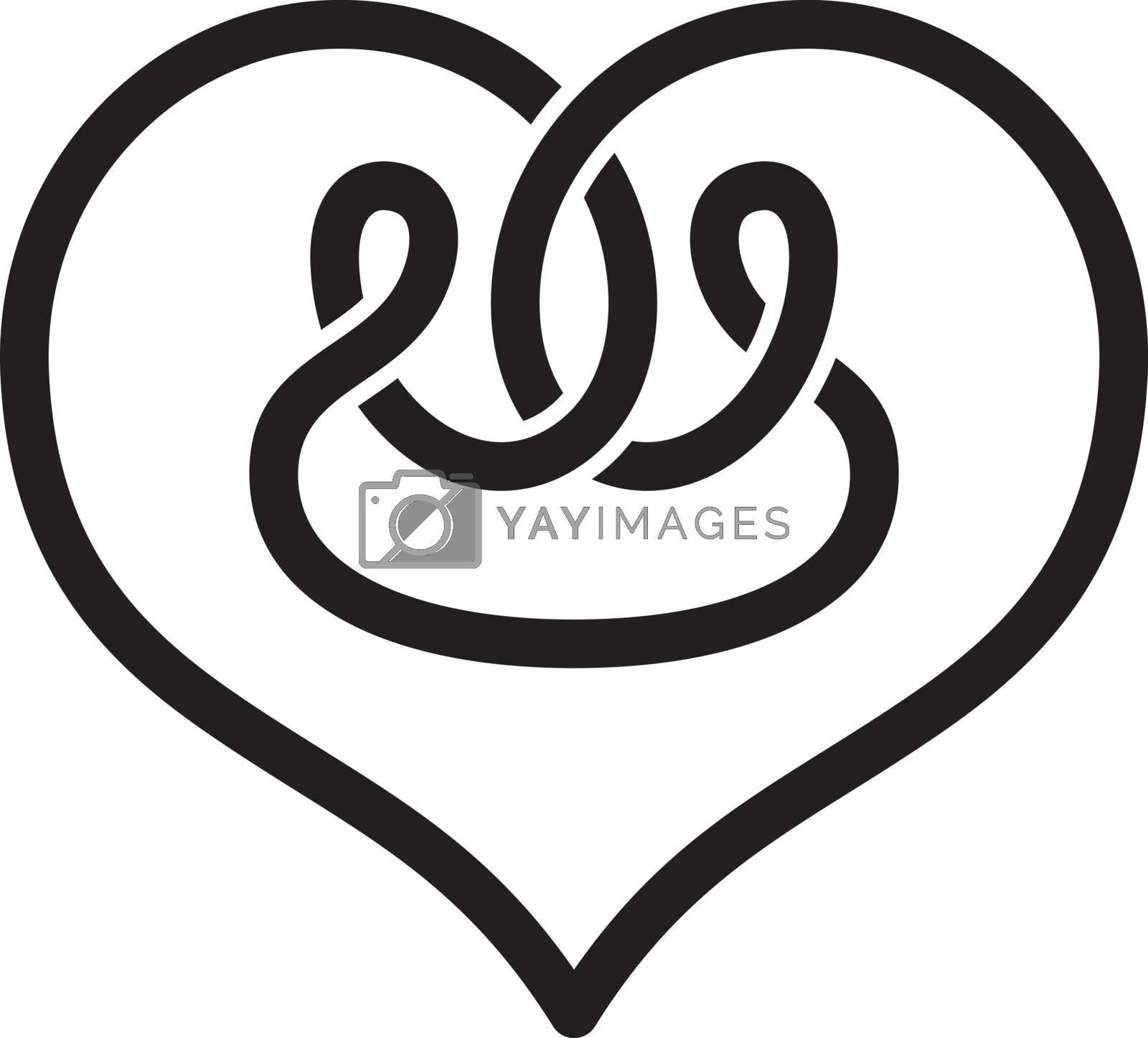 heart shape celtic overlapped concept logo logotype