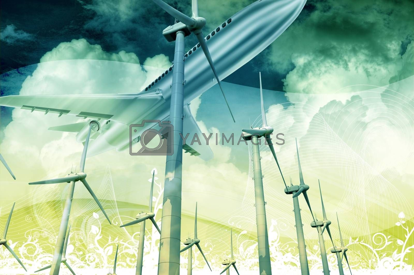 Technology of the Future. Air Transportation and Alternative Energy Technologies. 3D Render Illustration with Floral Ornaments.