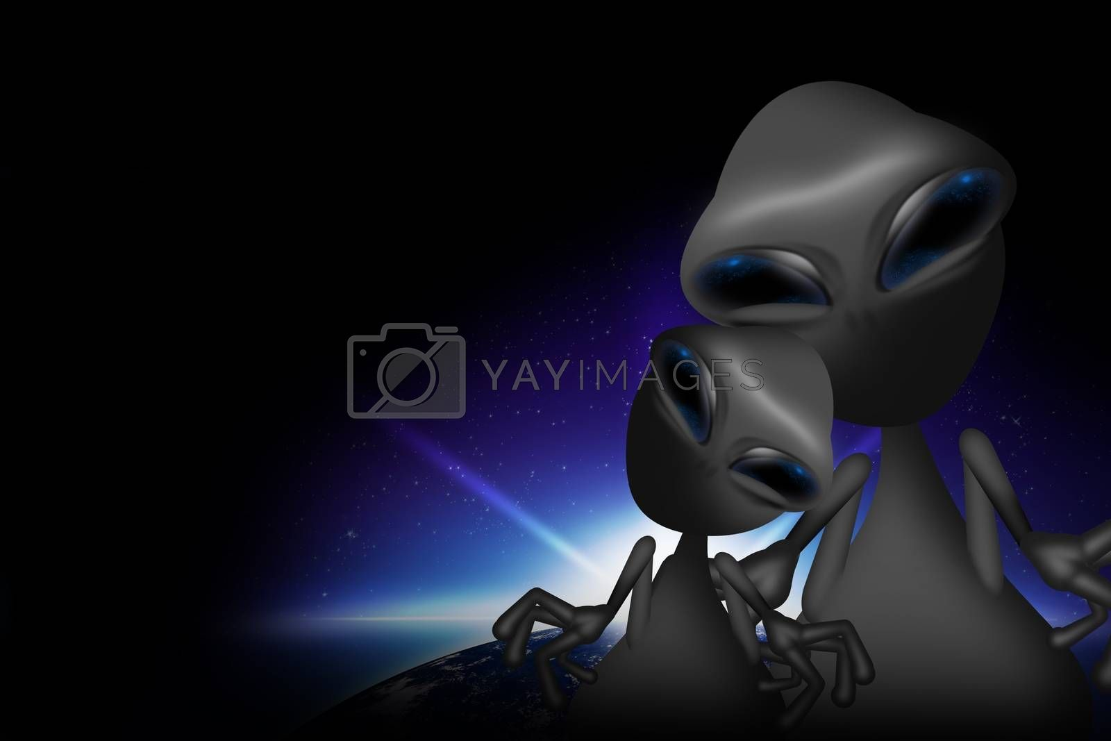 Two Gray Funny Aliens. Adult Alien with Teenage Alien. Dark Background with Earth Sunrise. Aliens Illustration.