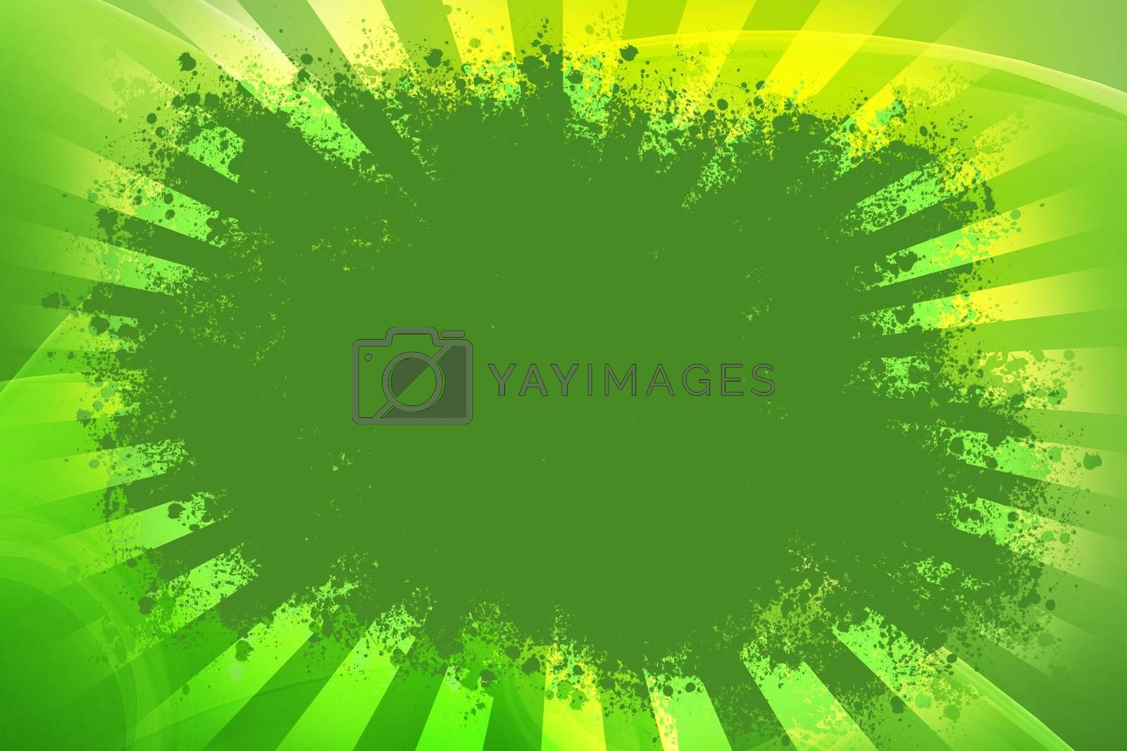 Grunge Green Background with Yellow Rays. Great Center Copy Space. Grunge-Splash Background.