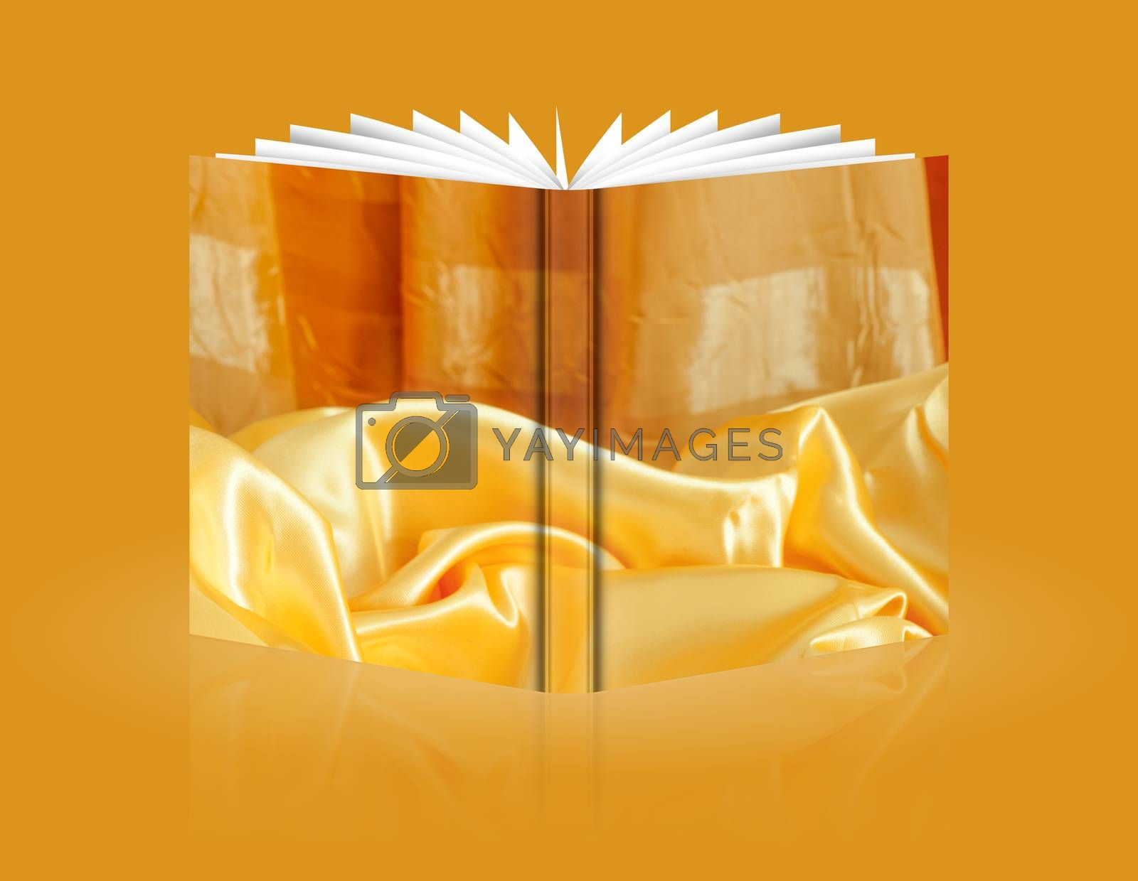 book of  elegant background with a colorful fabric