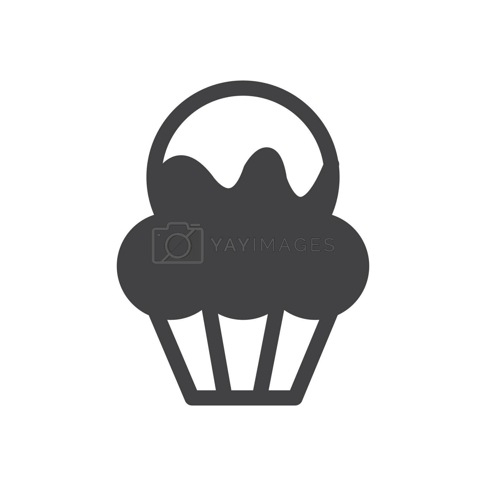 monochrome Cup Cake bakery icon