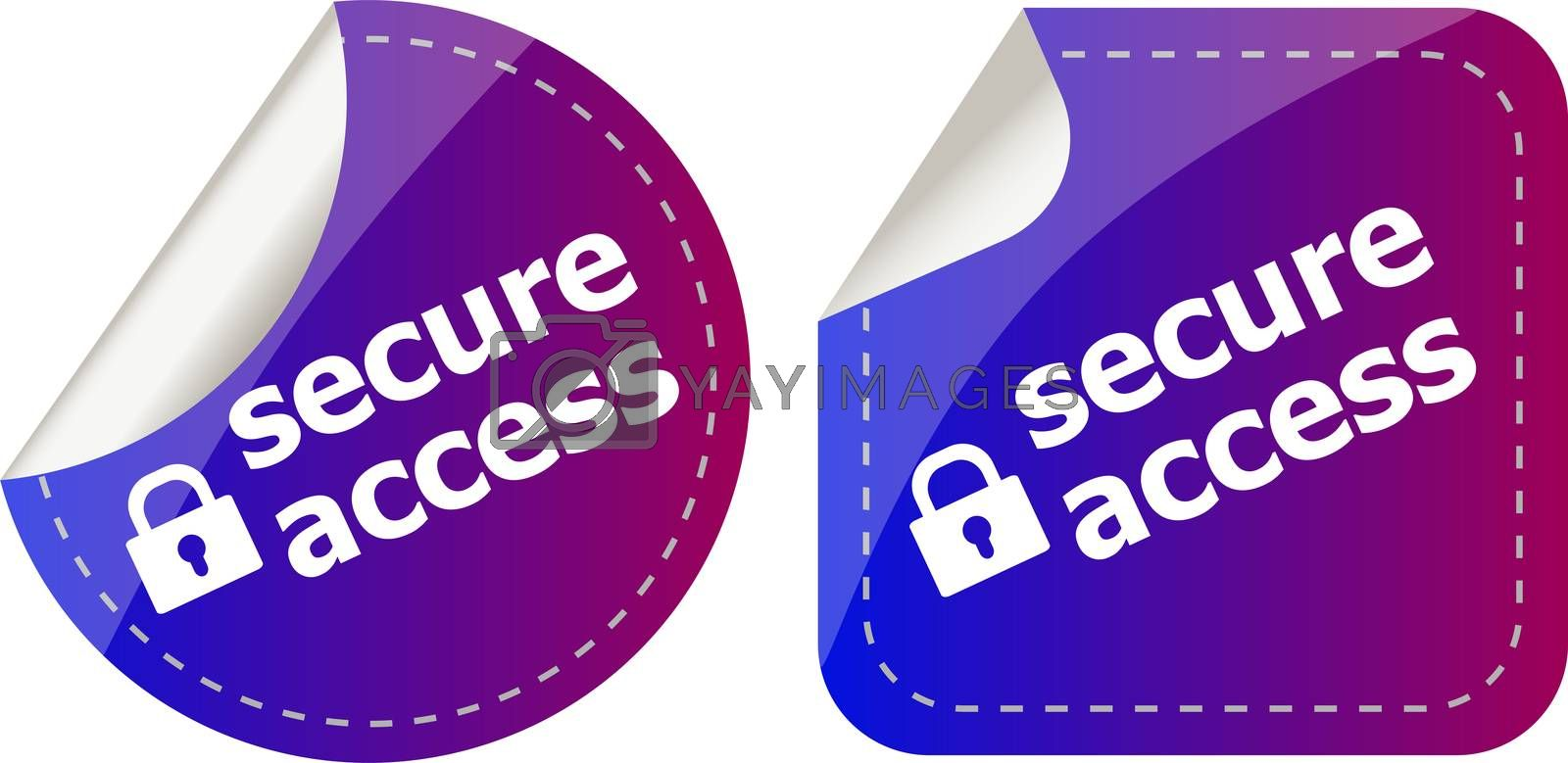 secure access with lock on stickers set isolated on white