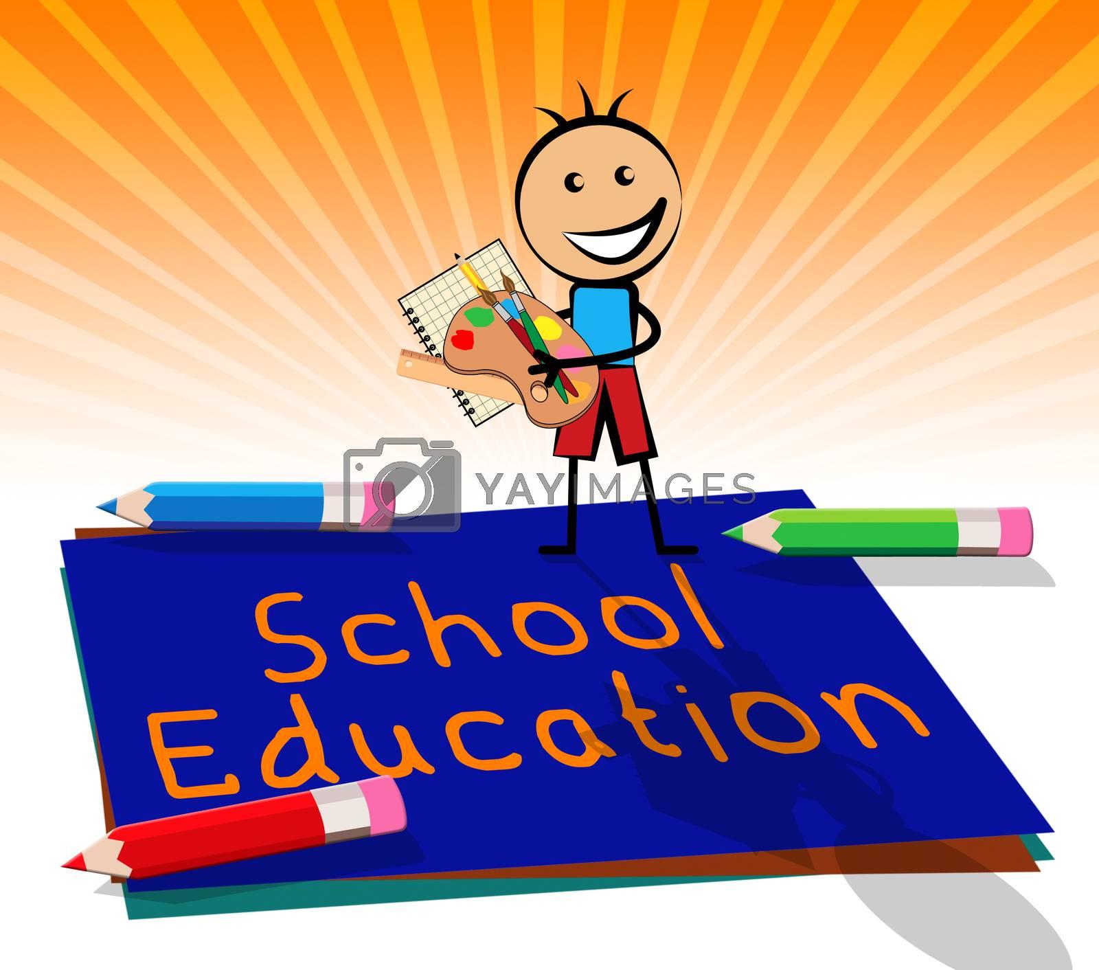 School Education Paper Displays Kids Education 3d Illustration