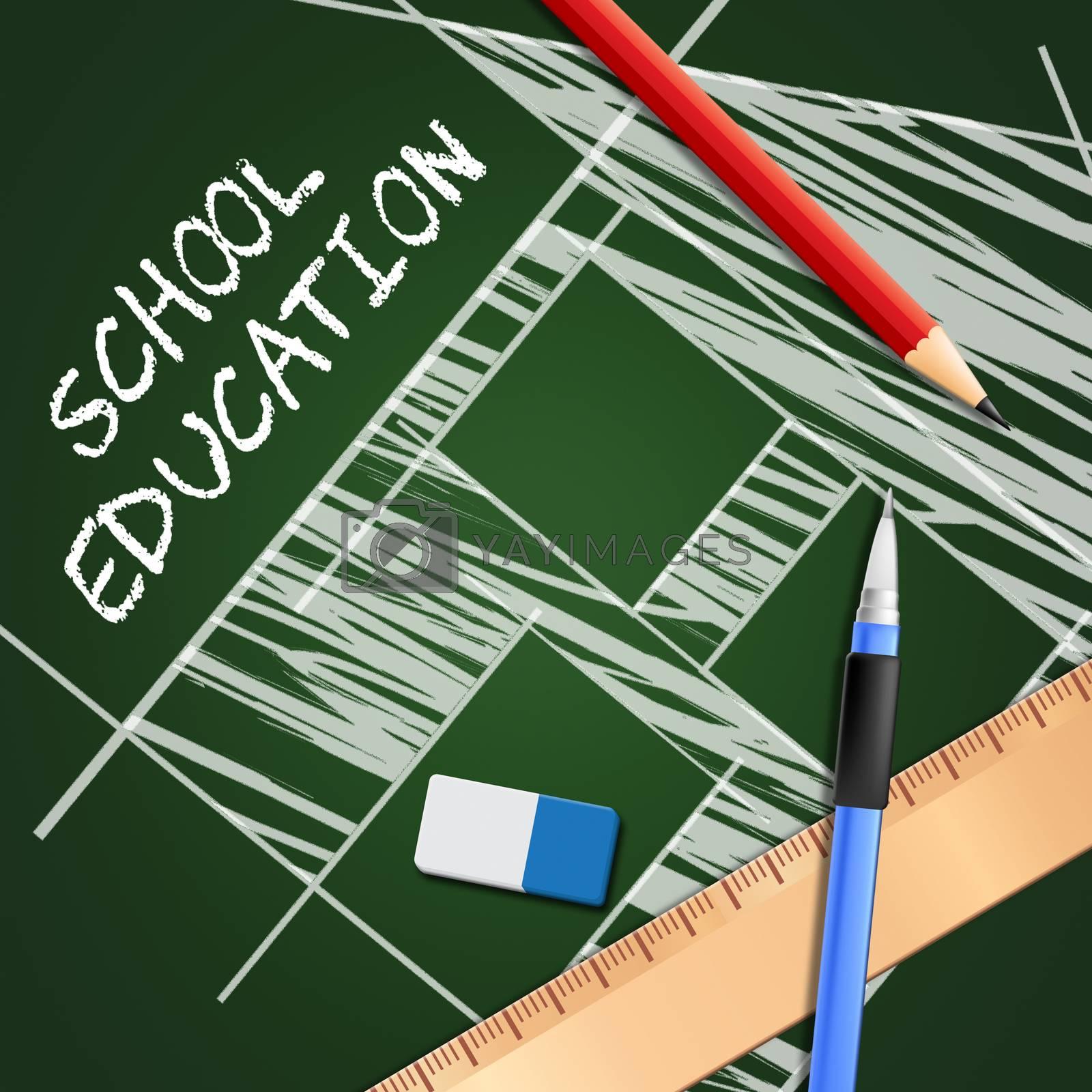 School Education Equipment Showing Kids Education 3d Illustration