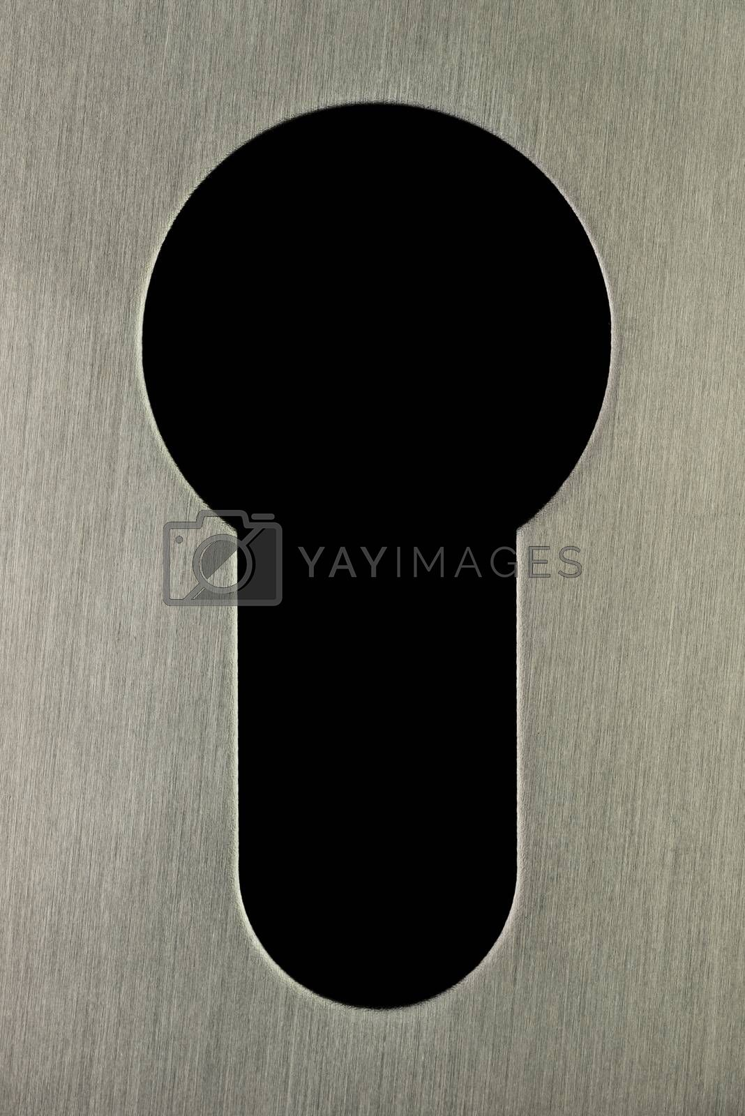 Keyhole features a stainless steel edge looking to a neutral colored background that can be provided with text or otherwise