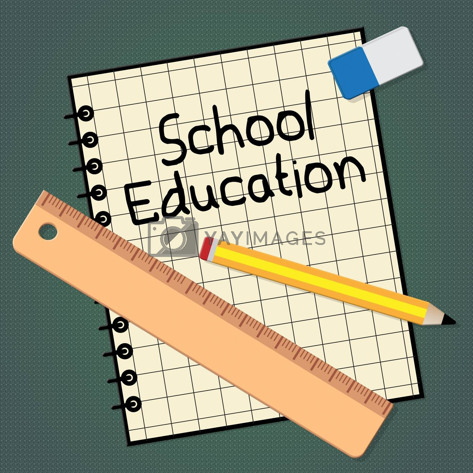 School Education Notebook Representing Kids Education 3d Illustration