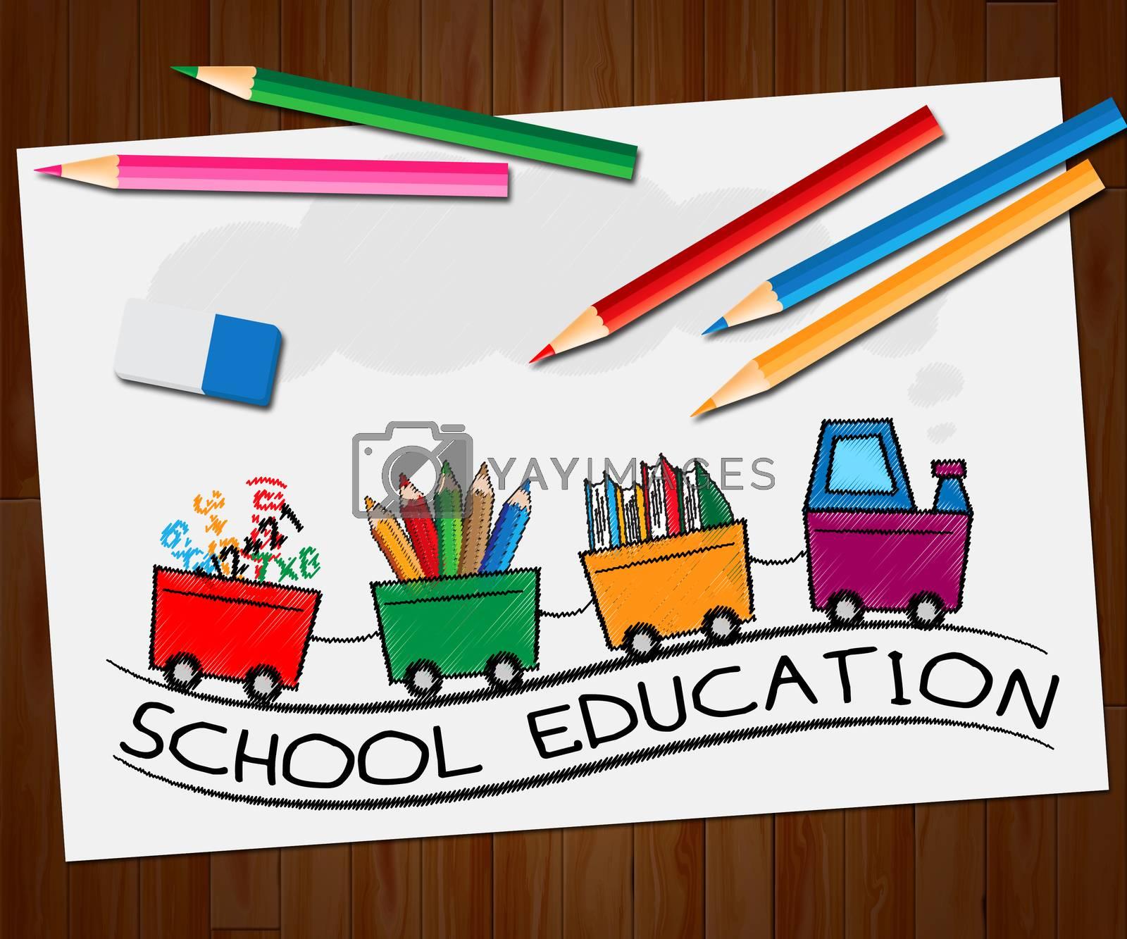 School Education Train Means Kids Education 3d Illustration