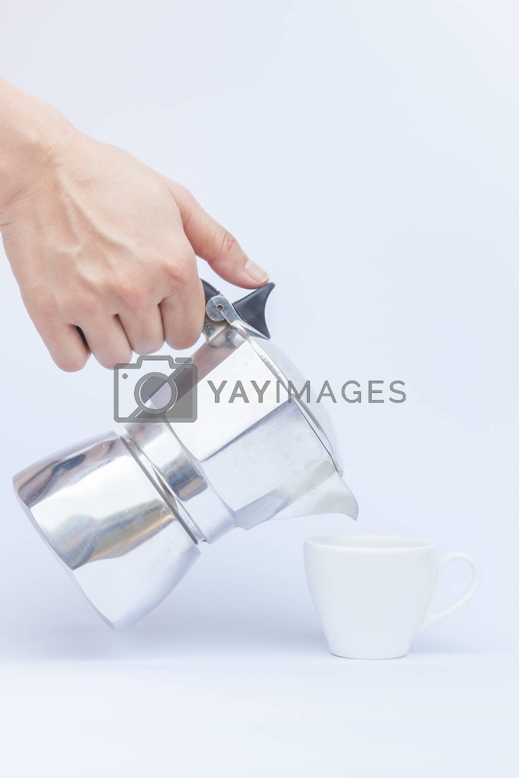 Moka pot isolated on white background, stock photo