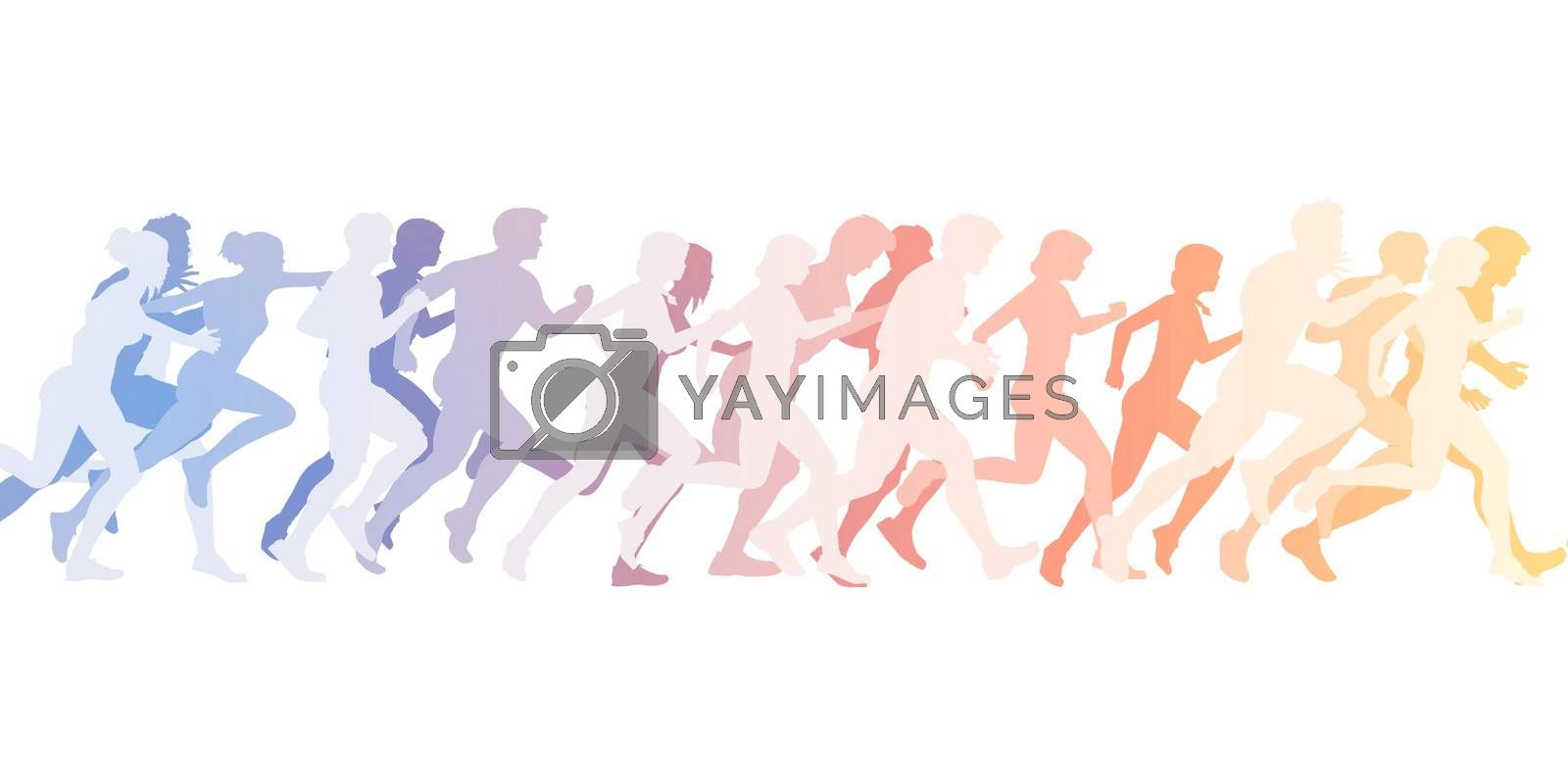 Sports Background with People Running as Concept
