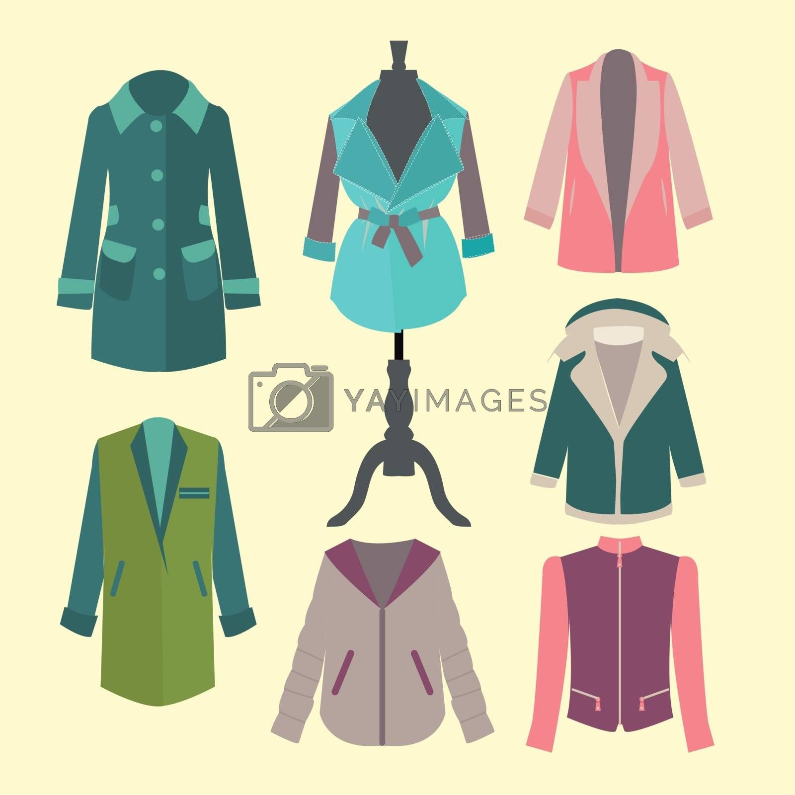 Fashion collection of spring and Autumn woman outerwear - Illustration