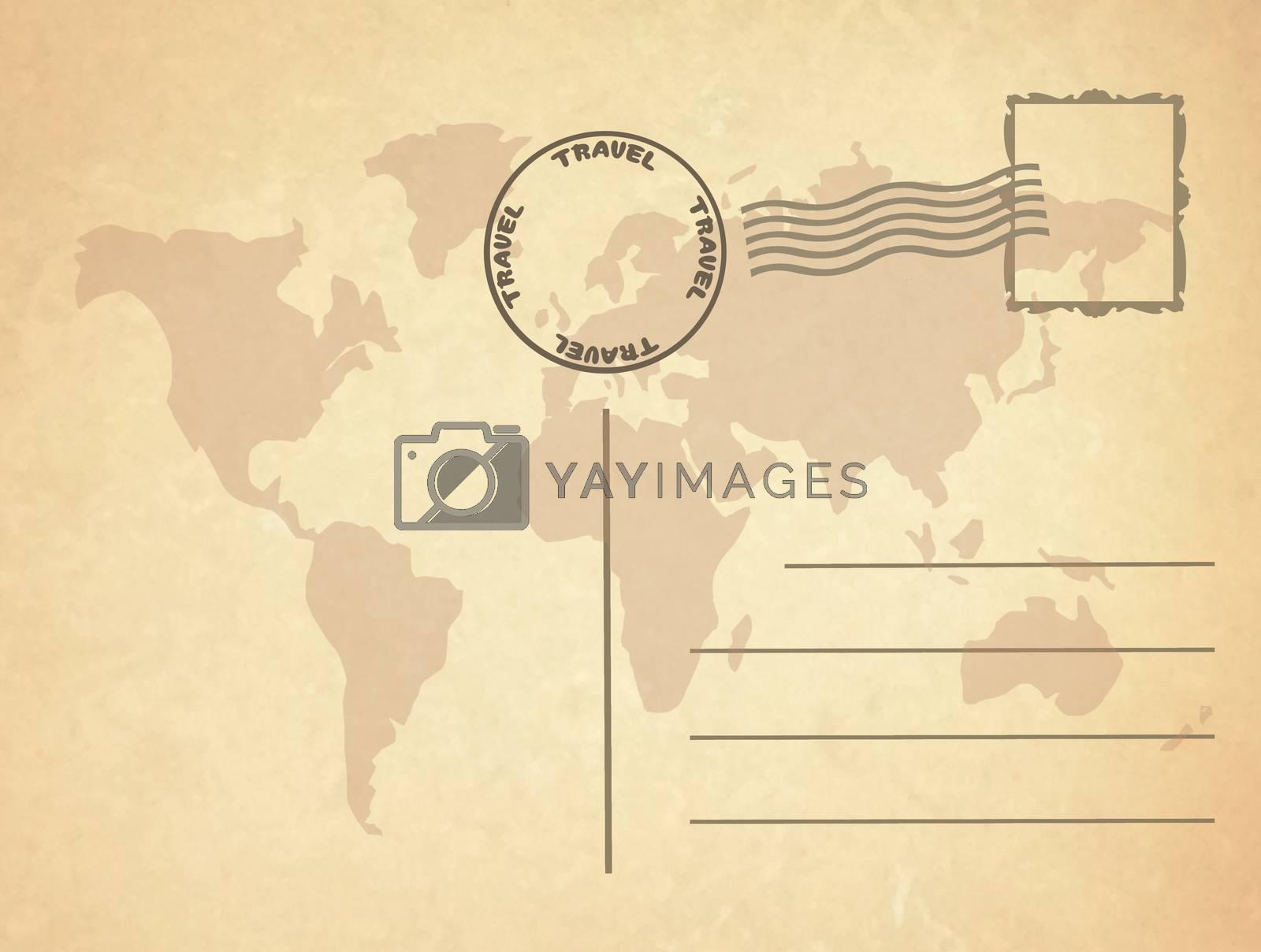 illustration of travel postcard