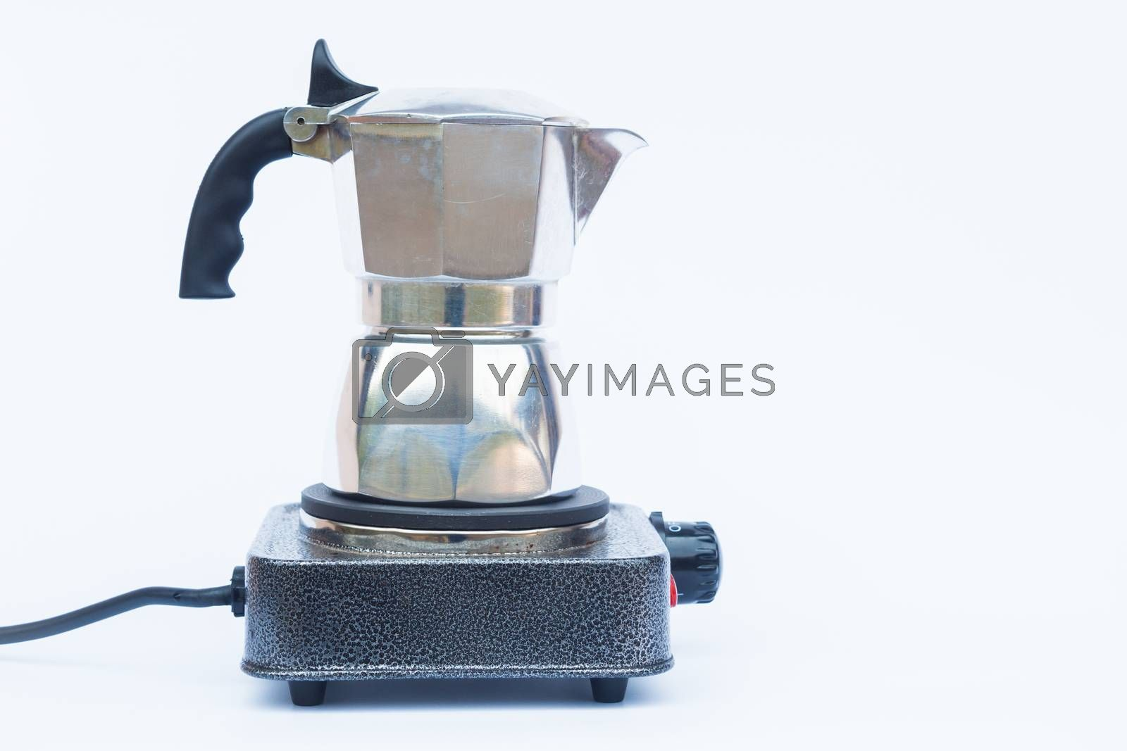 Moka pot isolated on white background by punsayaporn