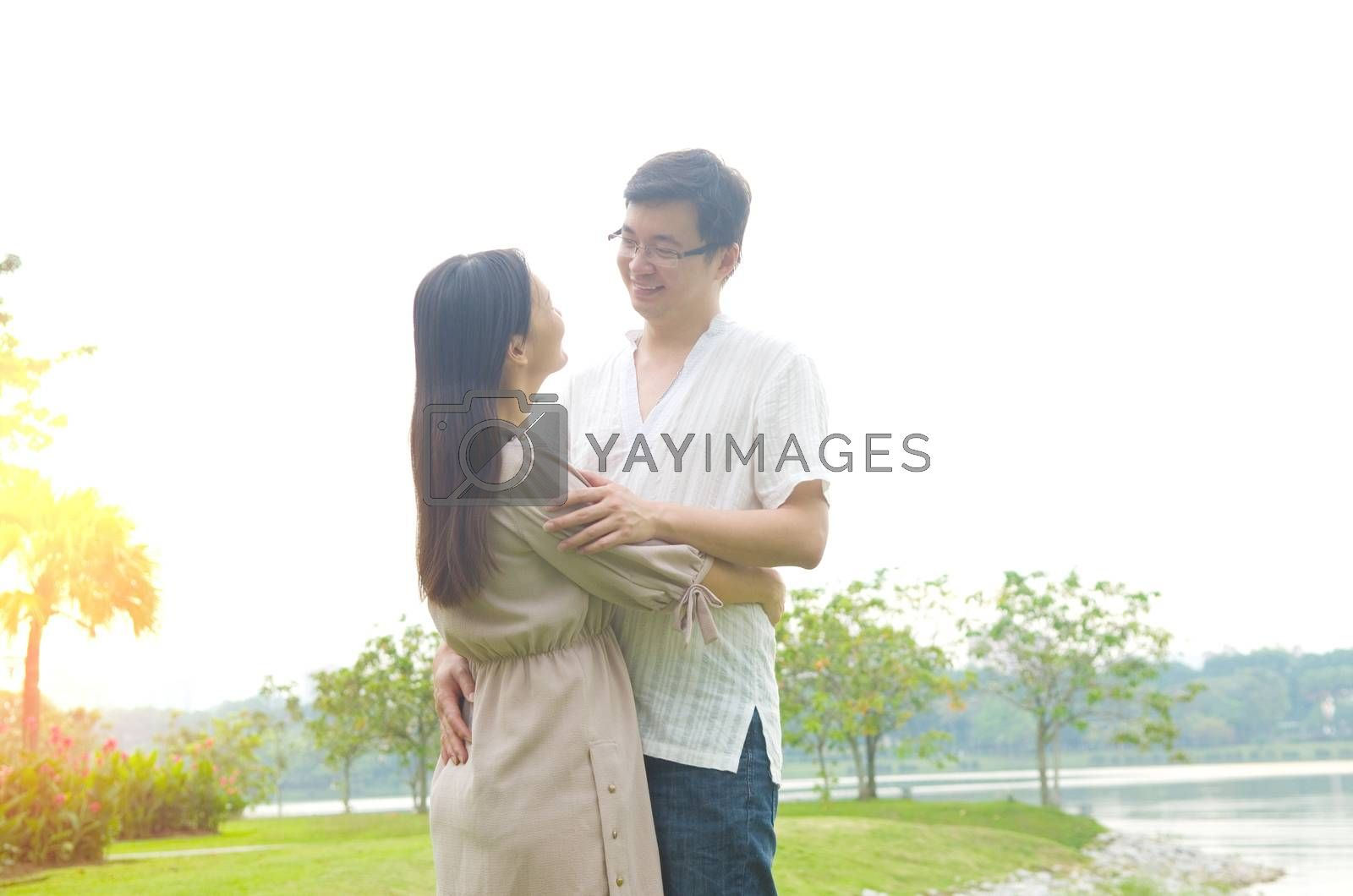 romance couple in love at outdoor park.