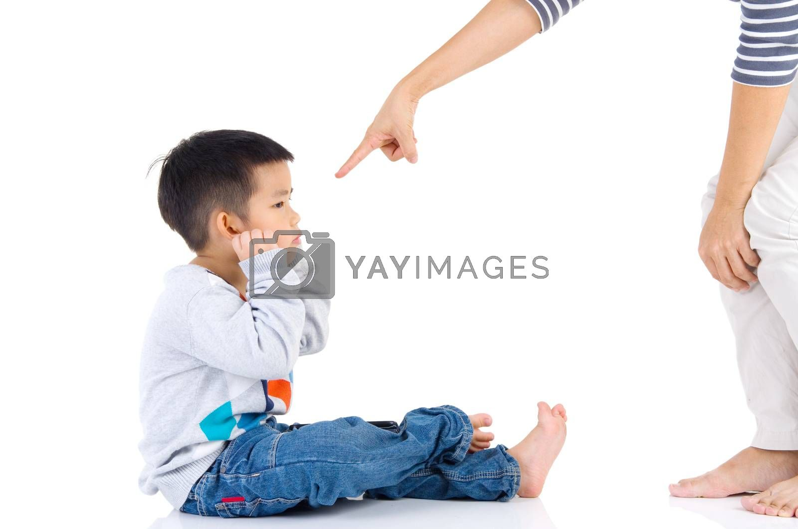 Education of the child. mother scolds her child boy. family relationships