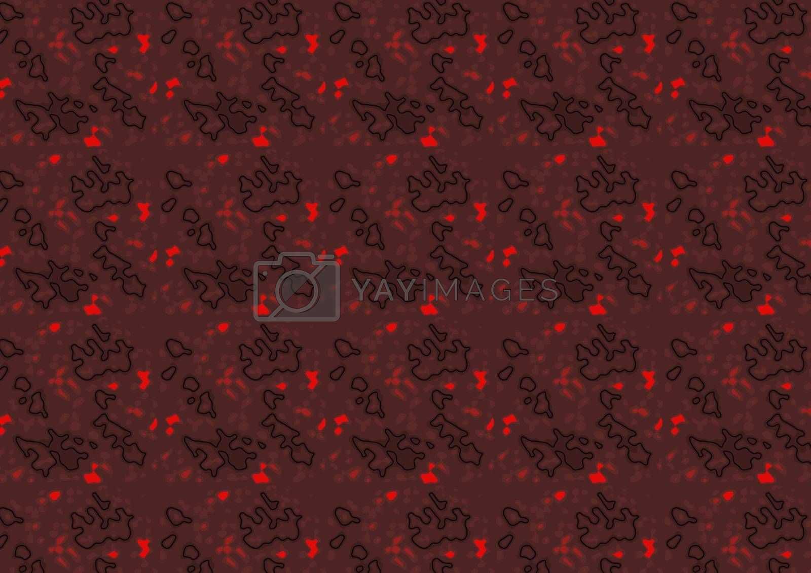 Dark Red Structured Texture with Black Line Segments and Red Glowing Grains - Abstract Background Illustration, Vector