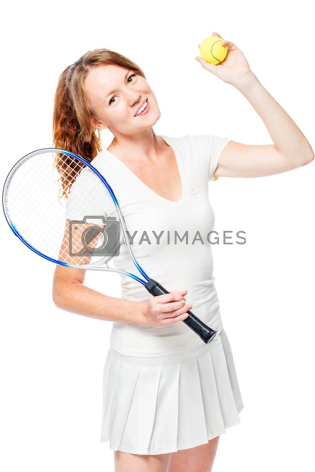 Favorite hobby - a game in big tennis, a portrait on a white background