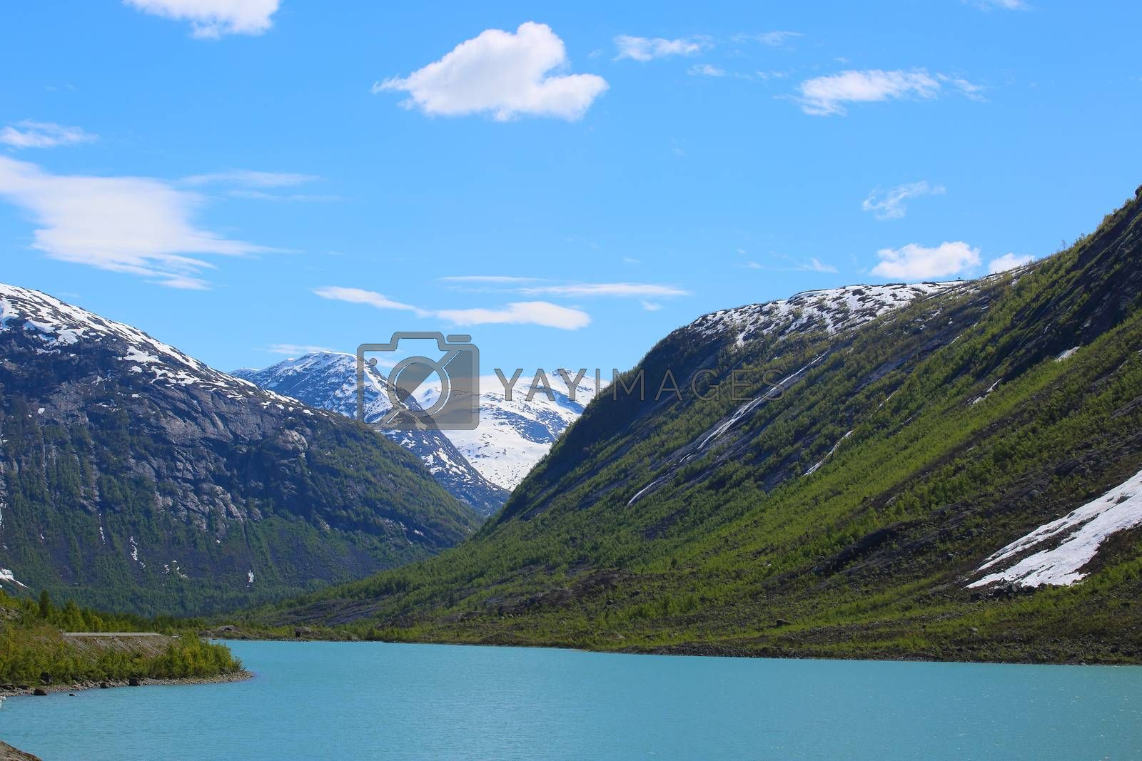 Mountain landscape with glacial river in Jostedalsbreen National Park, Briksdalen valley, Norway