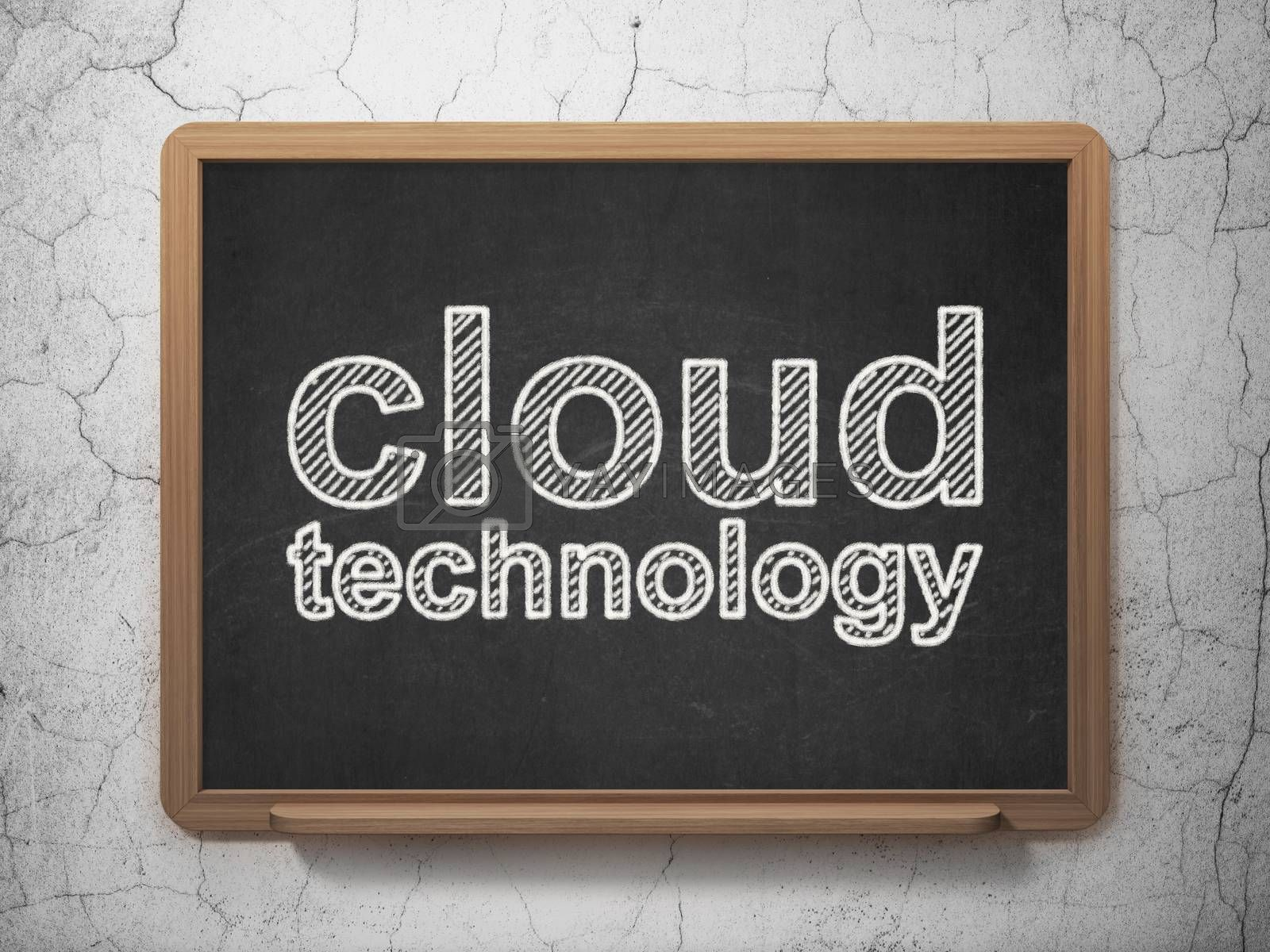 Cloud technology concept: text Cloud Technology on Black chalkboard on grunge wall background, 3D rendering