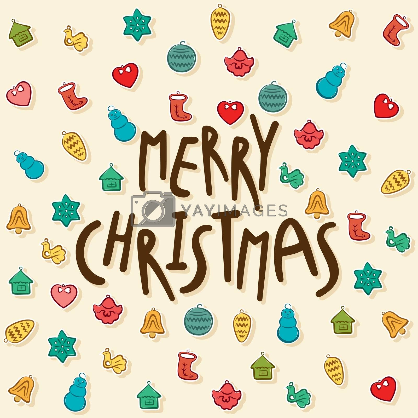 creative merry christmas festival greeting design with christmas object vector