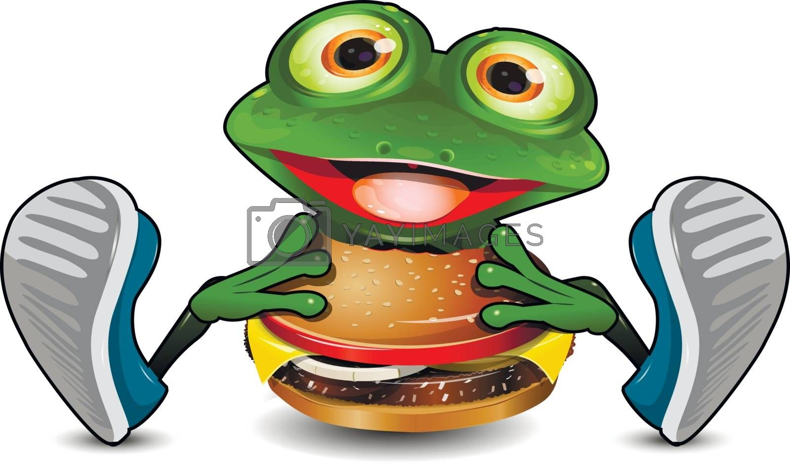 Illustration Cheerful Green Frog Eats Cheeseburger on a White Background