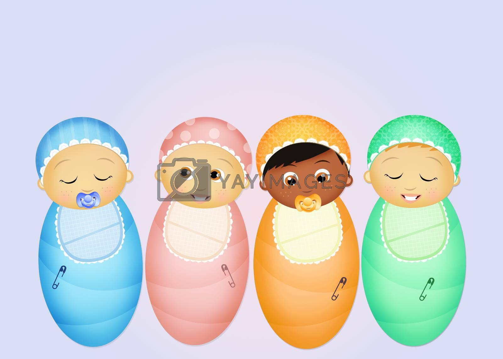 illustration of joyful babies