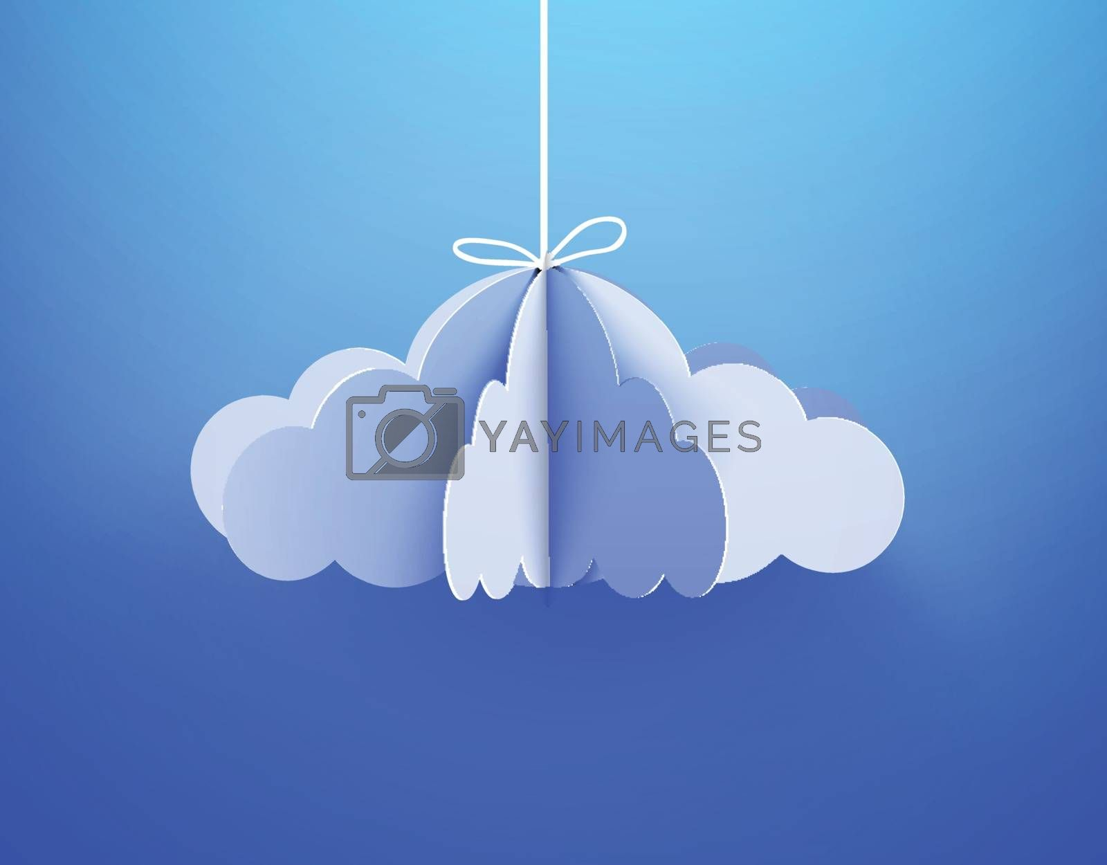 Paper cloud in origami style on the sky background. Vector illustration