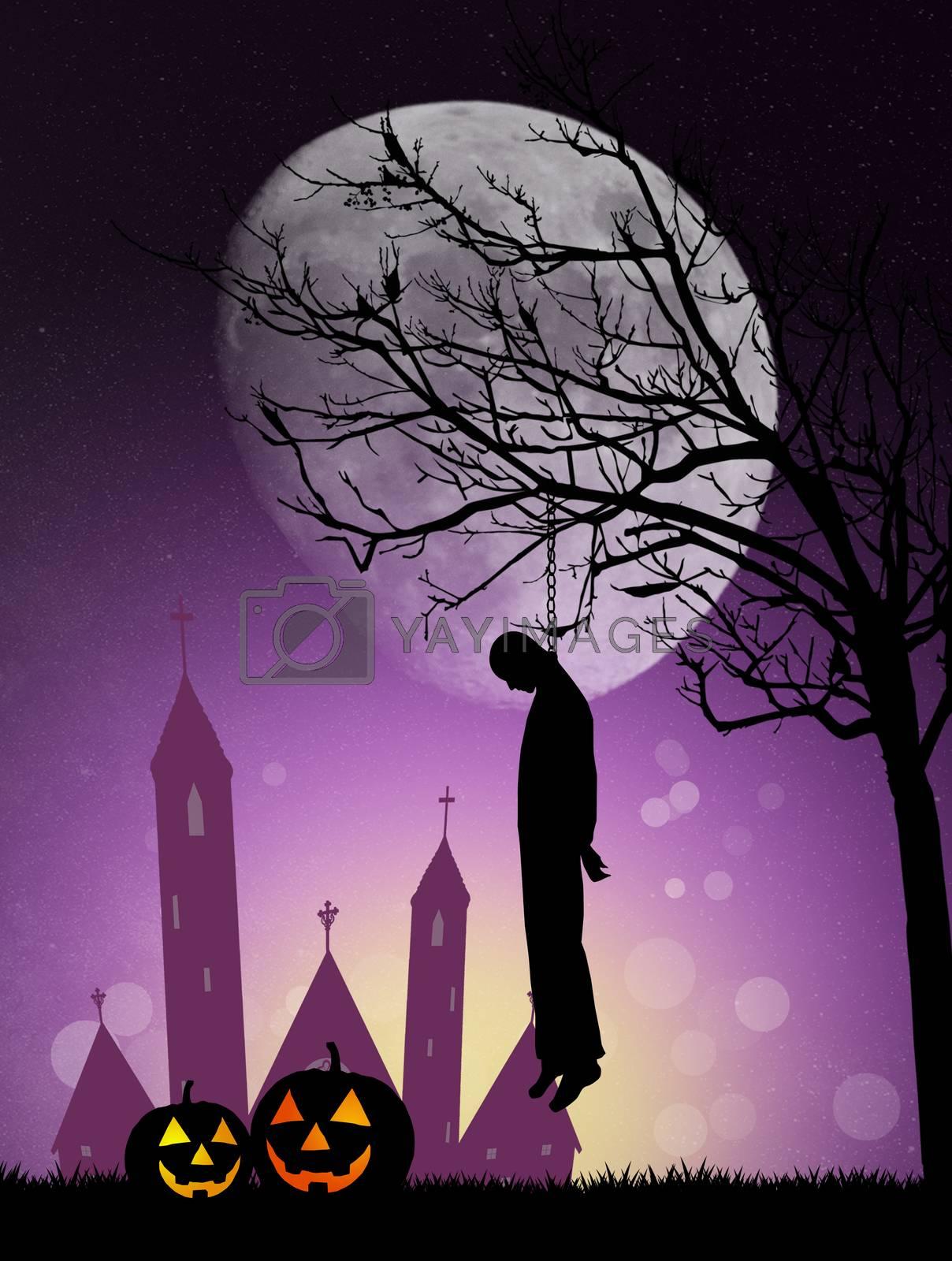 illustration of Hanged man on Halloween
