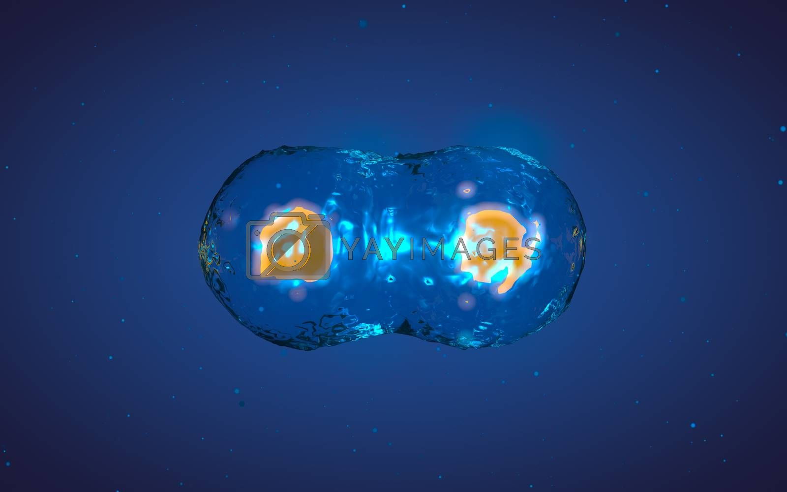 Abstract medical 3D illustration of a cell division process. Yellow core inside liquid transparent shell on blue background with microscopic particles