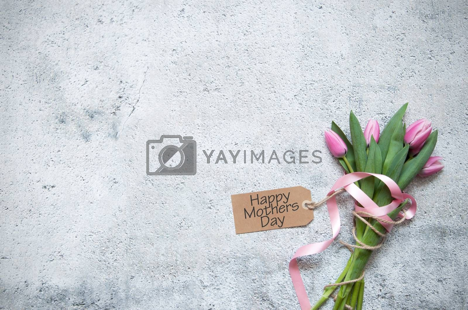 Mothers day pink tulips with gift tag