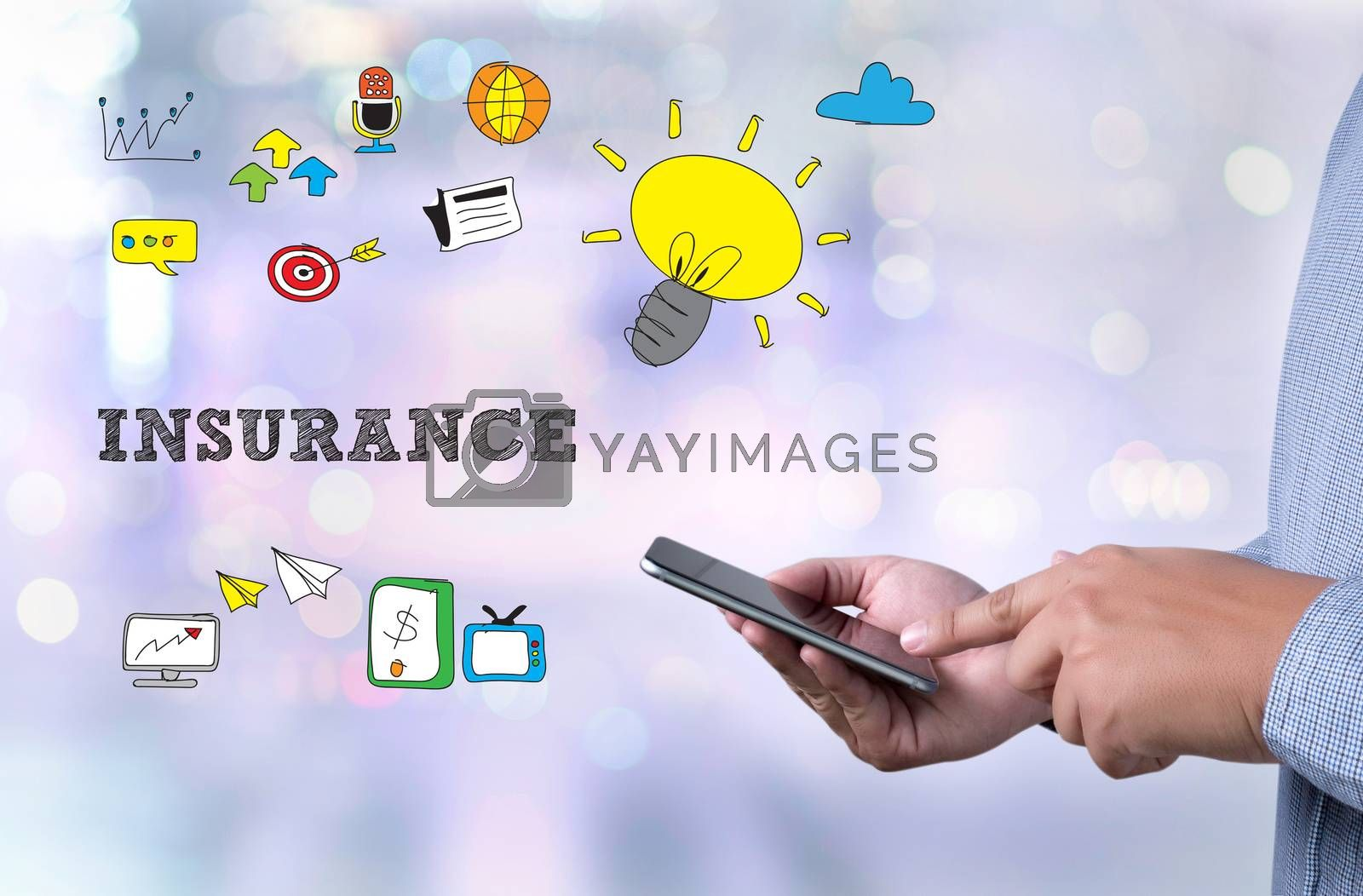 INSURANCE CONCEPT  person holding a smartphone on blurred cityscape background