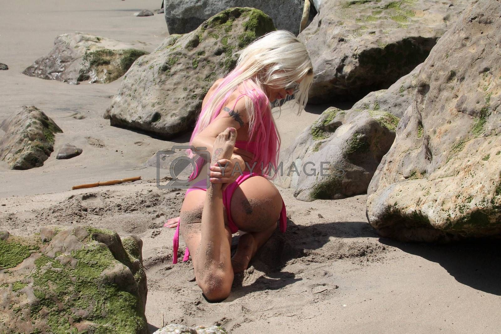"""Frenchy Morgan the """"Celebrity Big Brother"""" Star is spotted doing yoga and karate on the beach while wearing a tiny pink bikini, Malibu, CA 04-21-17"""
