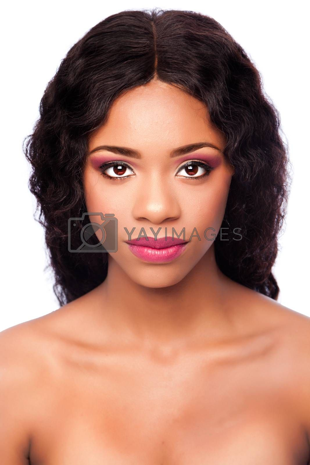 Beautiful face of black African woman with makeup cosmetics and curly hair, skincare concept.