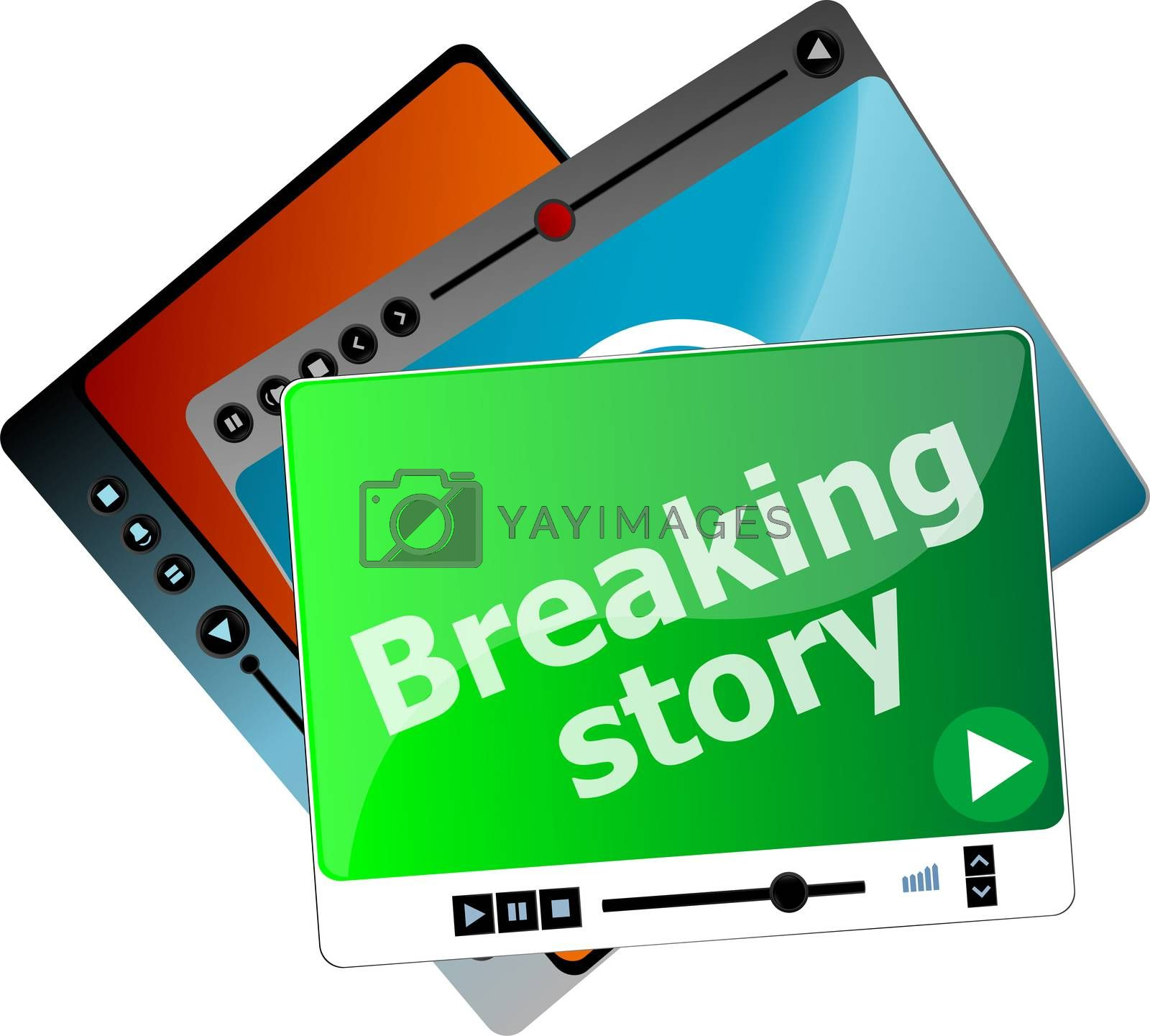 breaking story. Video media player set for web, minimalistic design