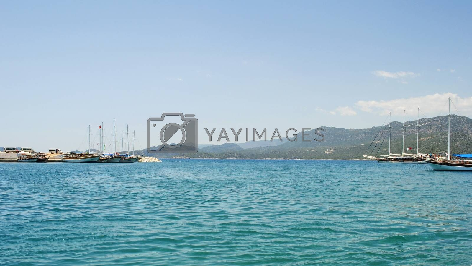 Recreational, tourist ships in the Mediterranean Sea in one of the resorts in Turkey