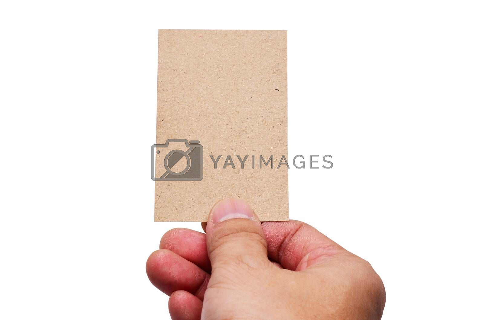 Hand hold business cards isolated on white background clipping path
