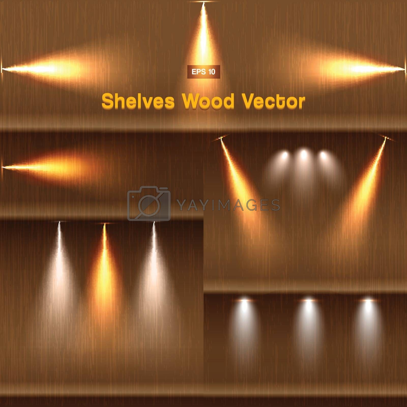 Shelves wood background with lighting vector