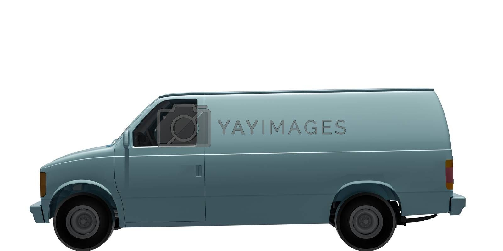 3d illustration of a van isolated on white background