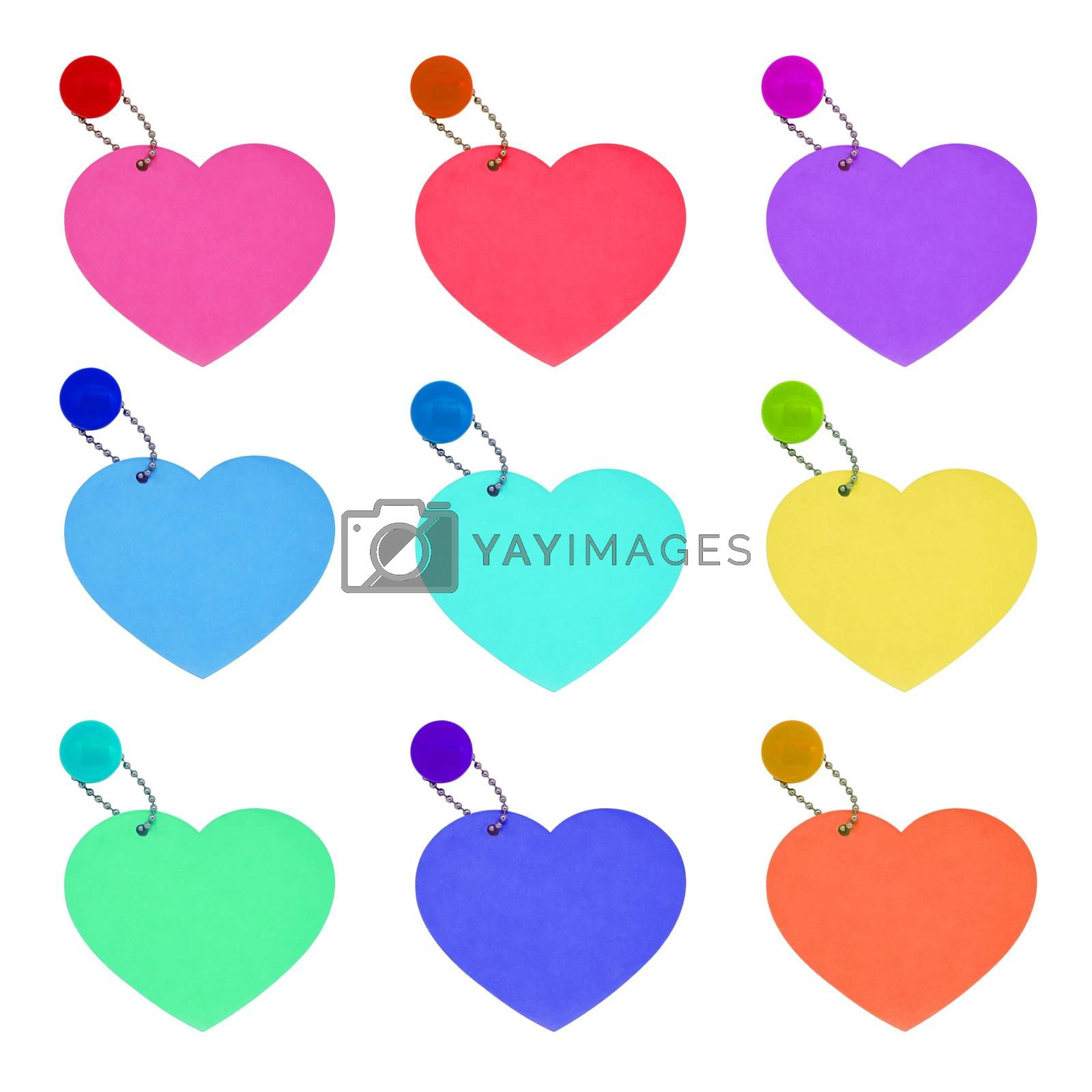 set tag hearts colorful valentines day isolated on white background
