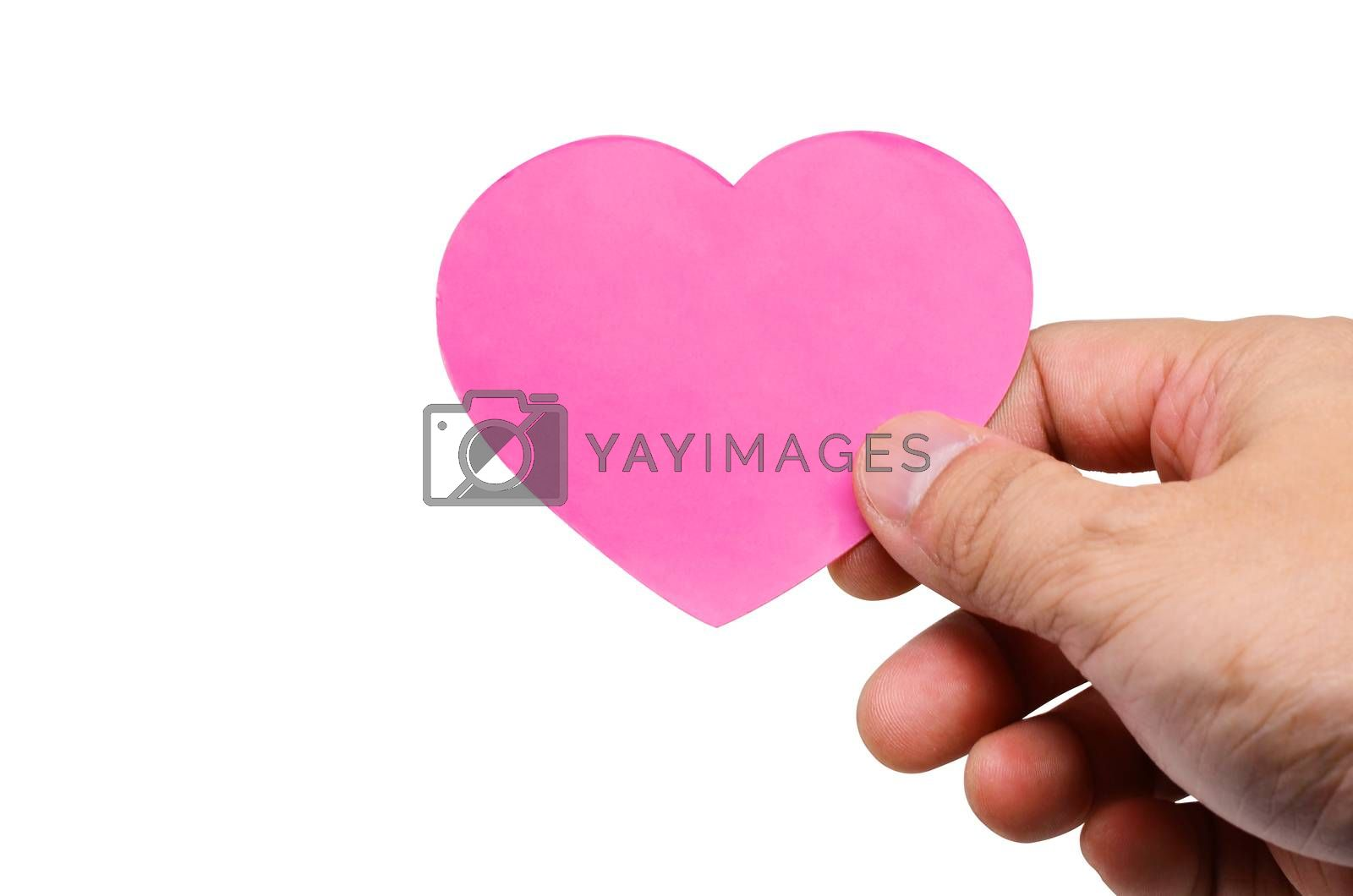 Hand holding a tag hearts valentines day isolated on white