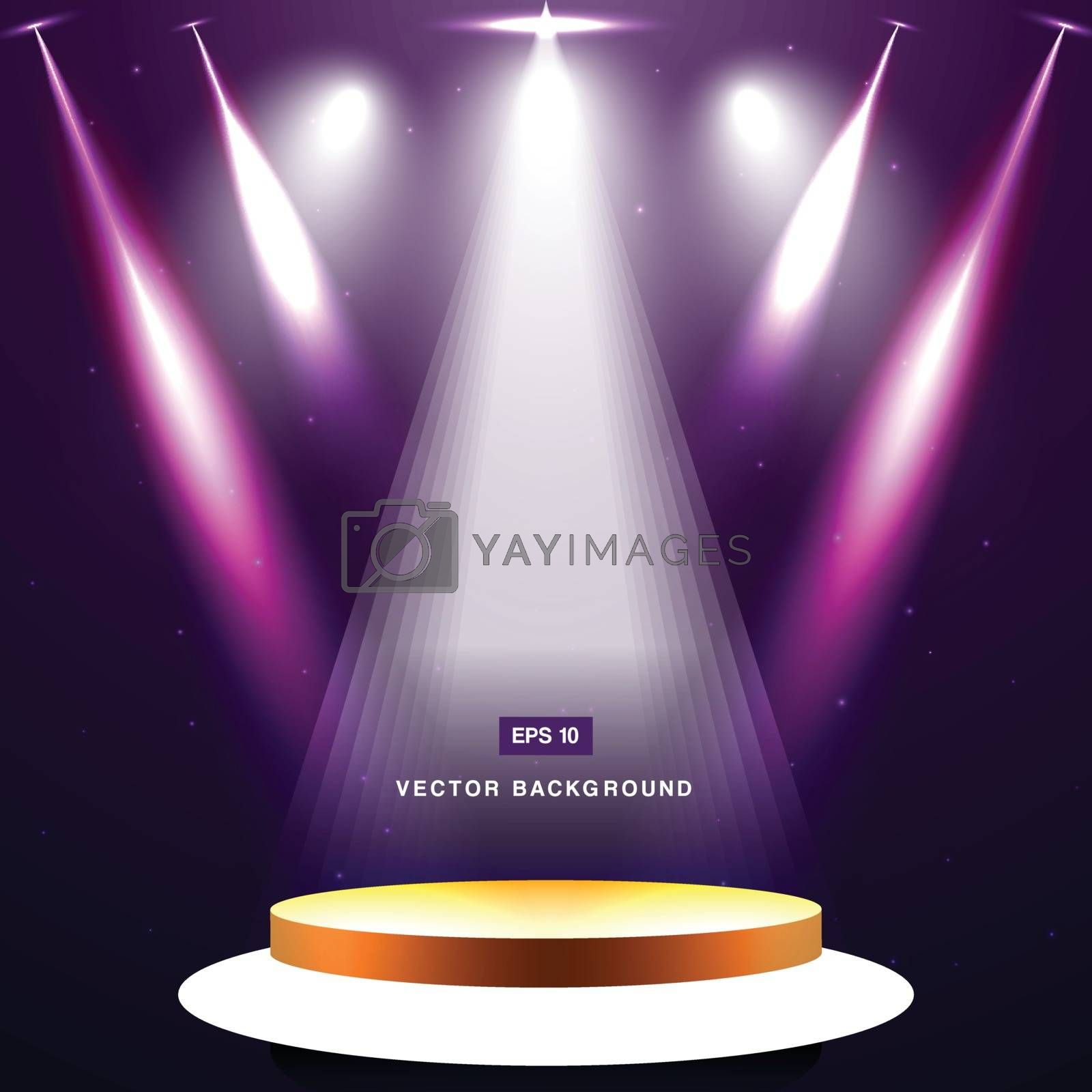 gold stage with spotlight and star on purple background vector