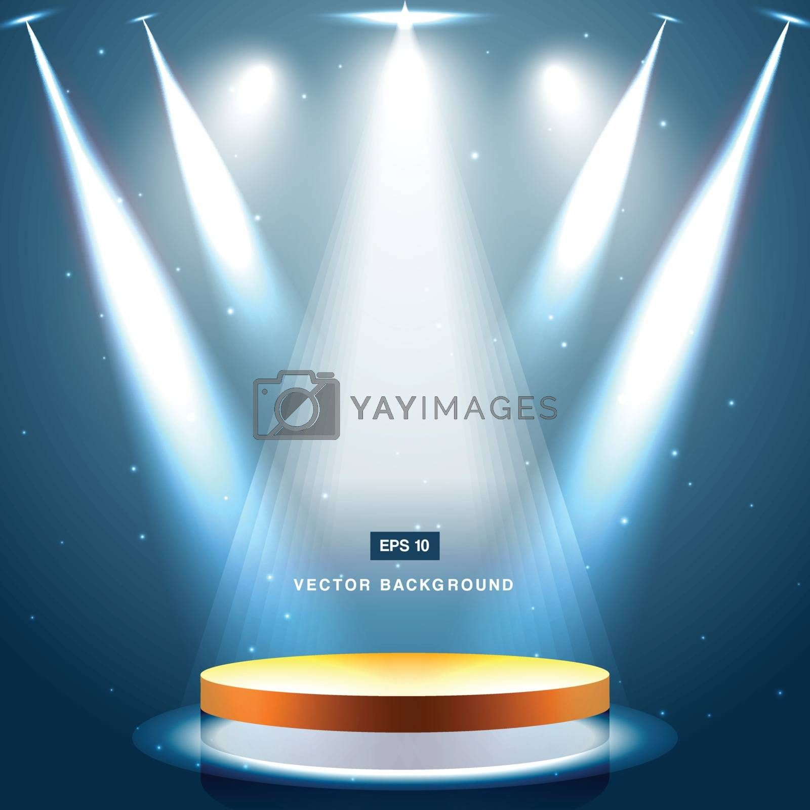 gold stage with spotlight and star on blue background vector