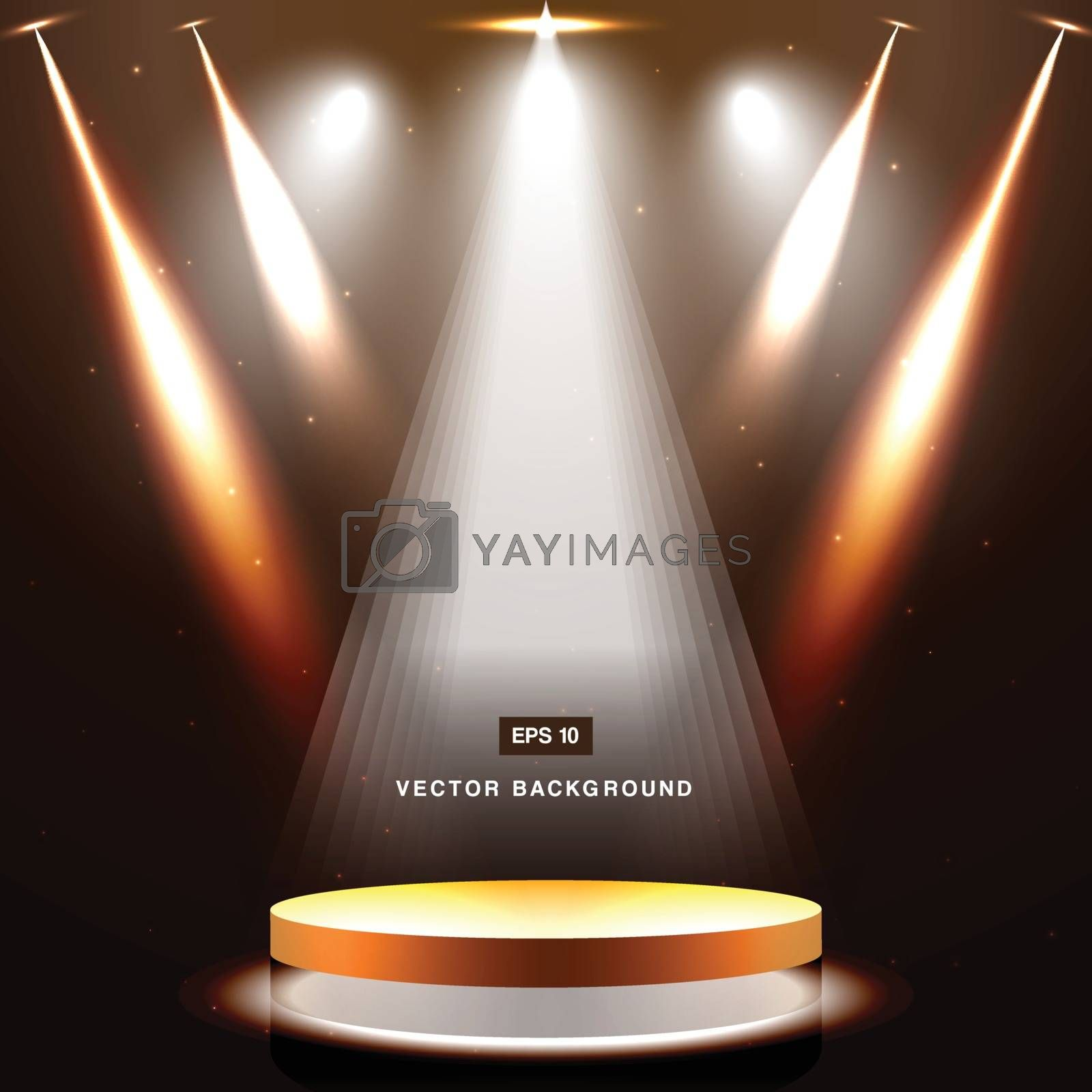 gold stage with spotlight and star on brown background vector