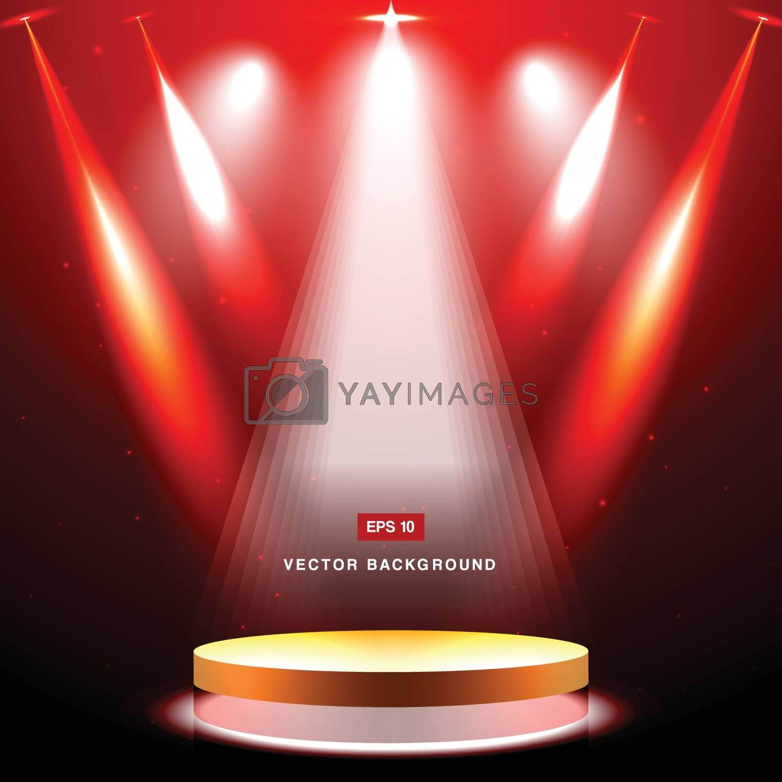 gold stage with spotlight and star on red background vector