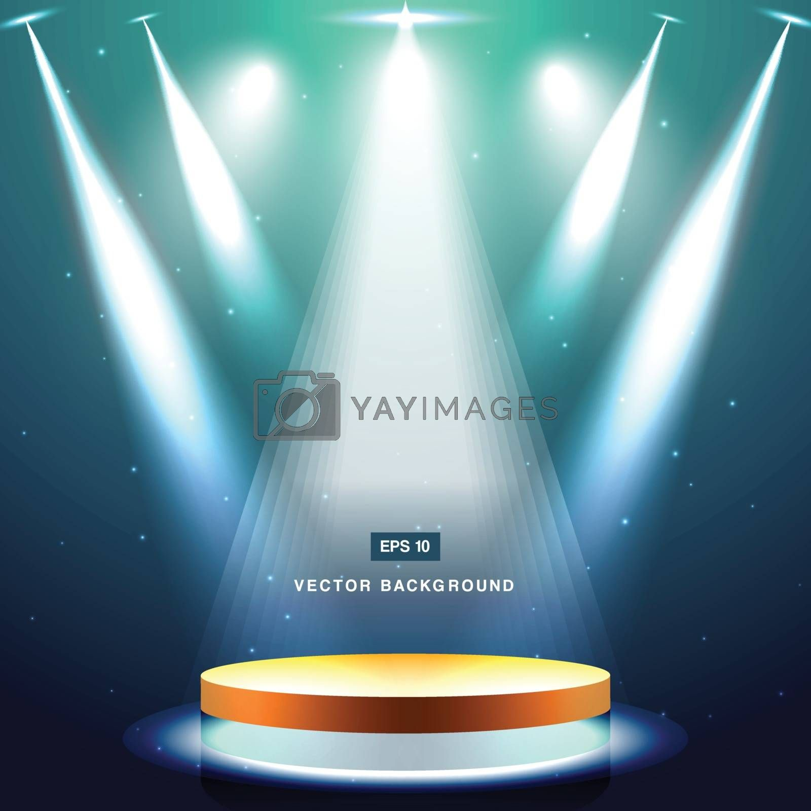 gold stage with spotlight and star on deep blue sea background vector
